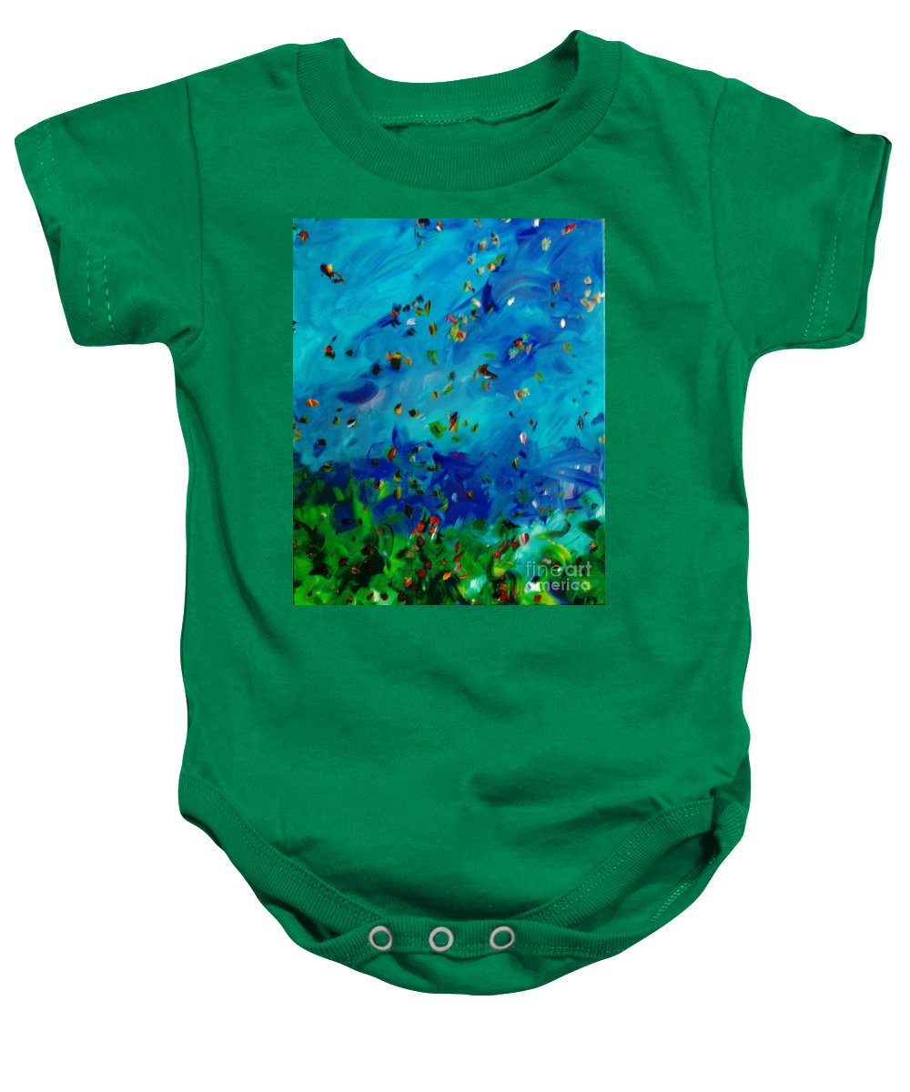 Landscape Baby Onesie featuring the painting Freelancing by Reina Resto