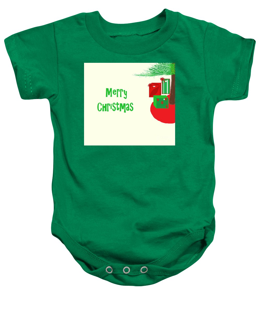 Christmas Baby Onesie featuring the digital art Gifts Under The Tree by Mesa Teresita