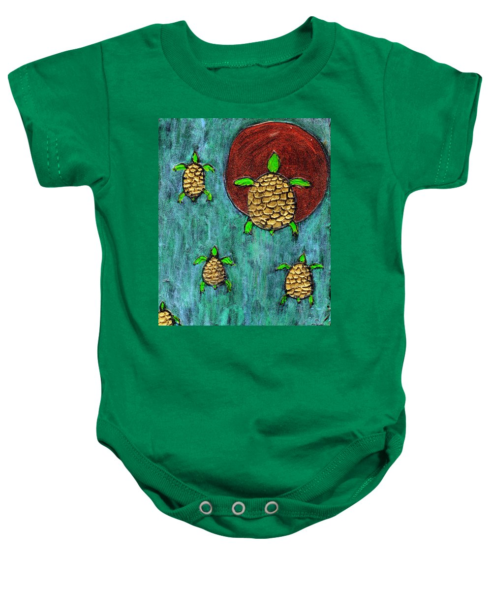 Sea Turtle Baby Onesie featuring the painting Going Home by Wayne Potrafka
