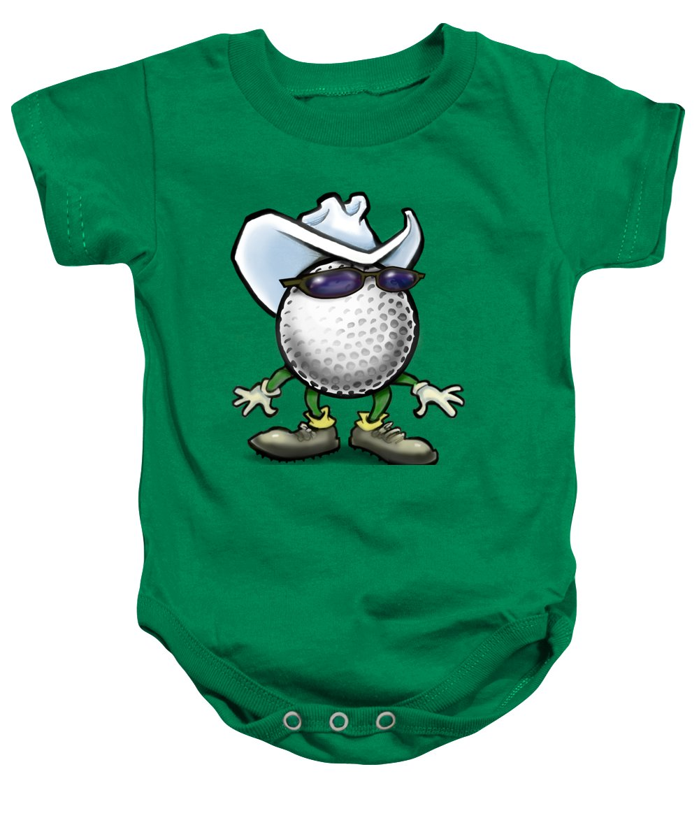 Golf Baby Onesie featuring the digital art Golf Cowboy by Kevin Middleton