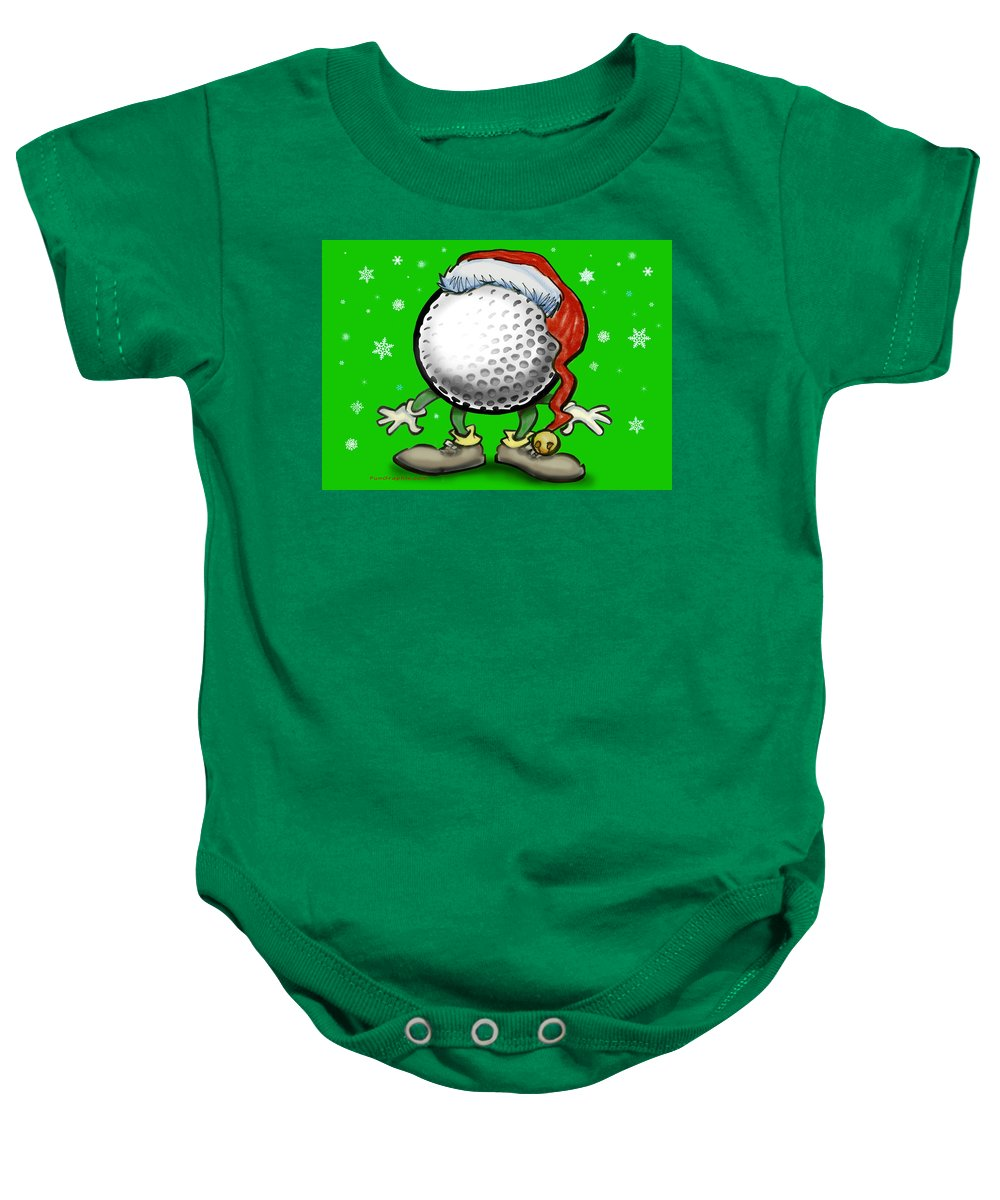 Golf Baby Onesie featuring the greeting card Golfmas by Kevin Middleton