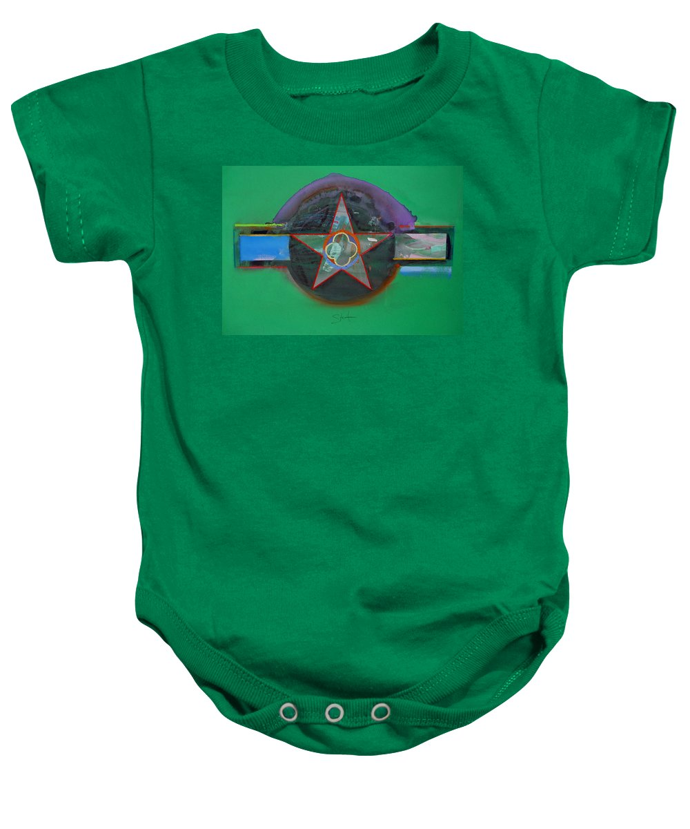 Star Baby Onesie featuring the painting Green And Violet by Charles Stuart
