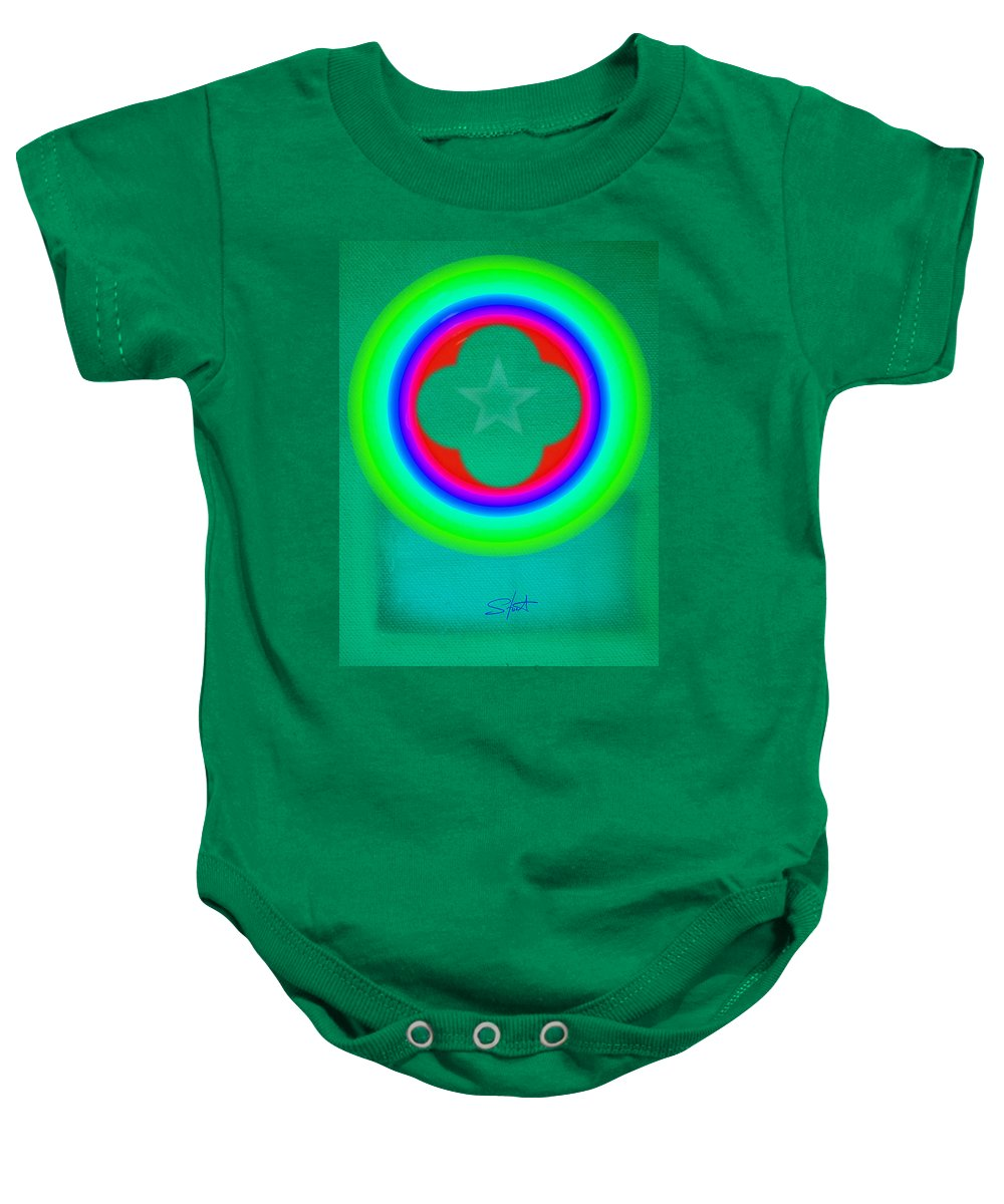 Abstract Baby Onesie featuring the painting Green See by Charles Stuart