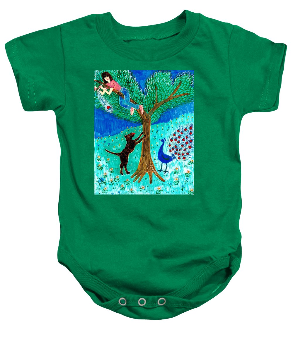 Sue Burgess Baby Onesie featuring the painting Guard Dog And Guard Peacock by Sushila Burgess