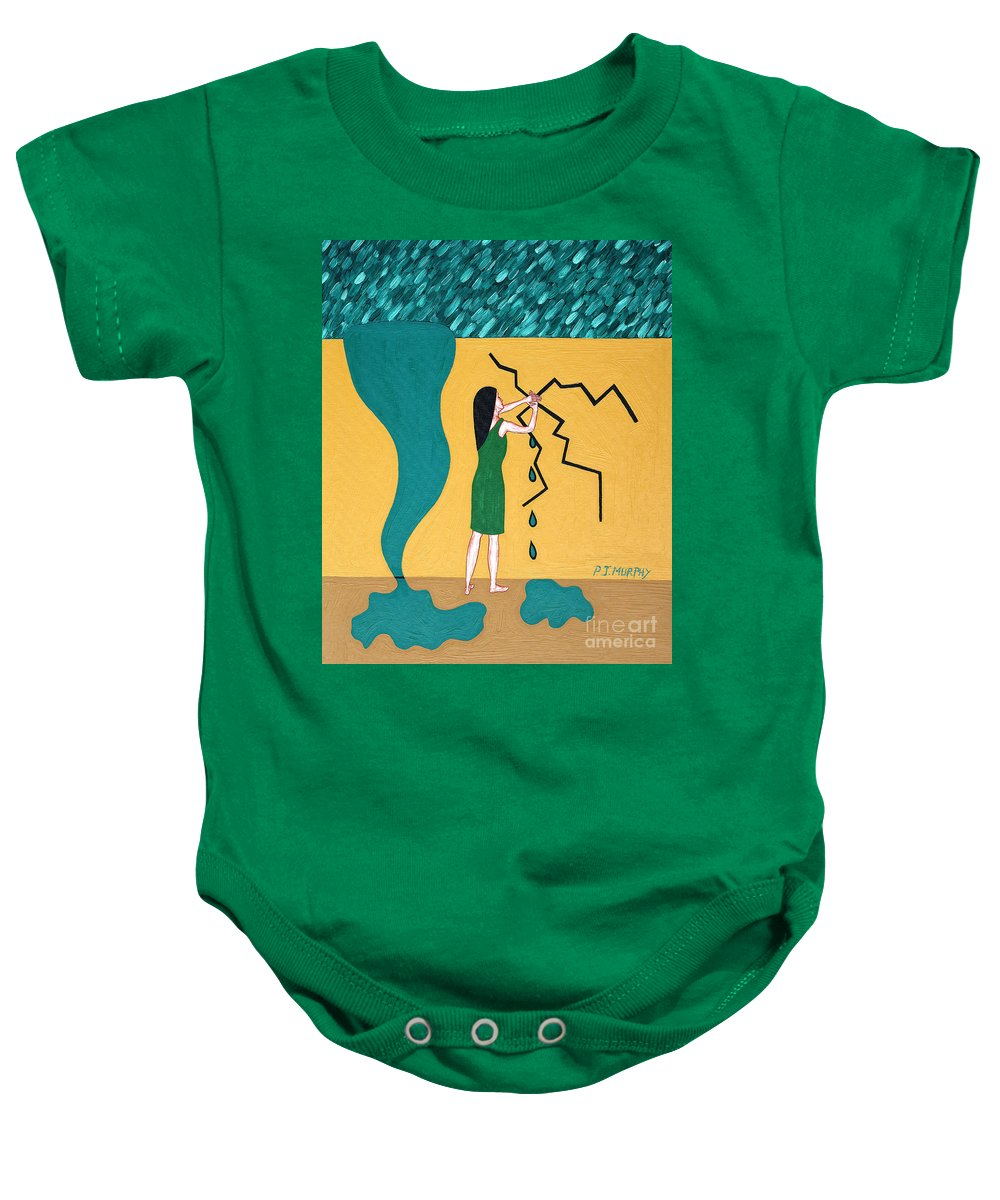 Urgency Baby Onesie featuring the painting Holding Back The Flood by Patrick J Murphy