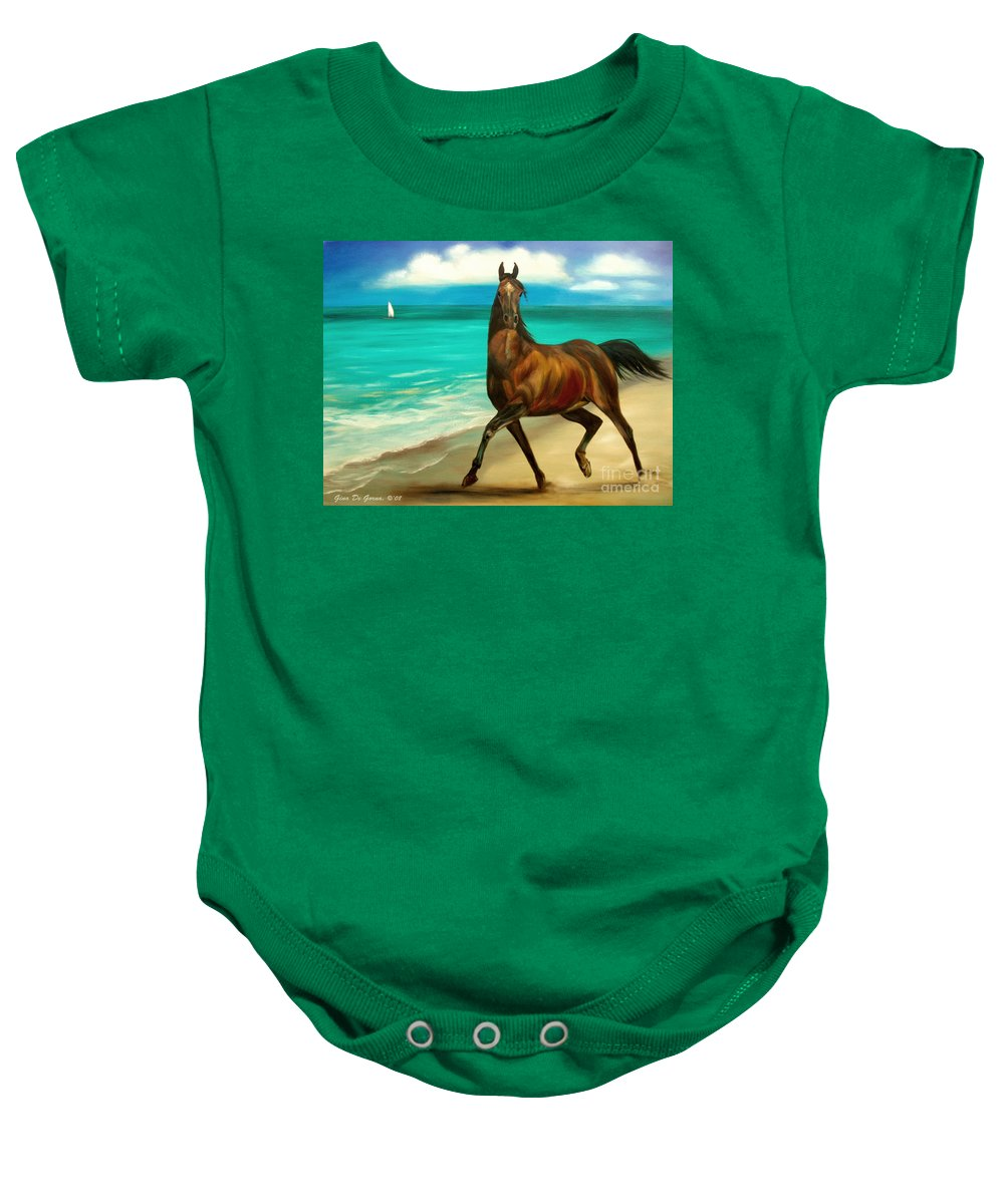 Horse Baby Onesie featuring the painting Horses In Paradise Dance by Gina De Gorna