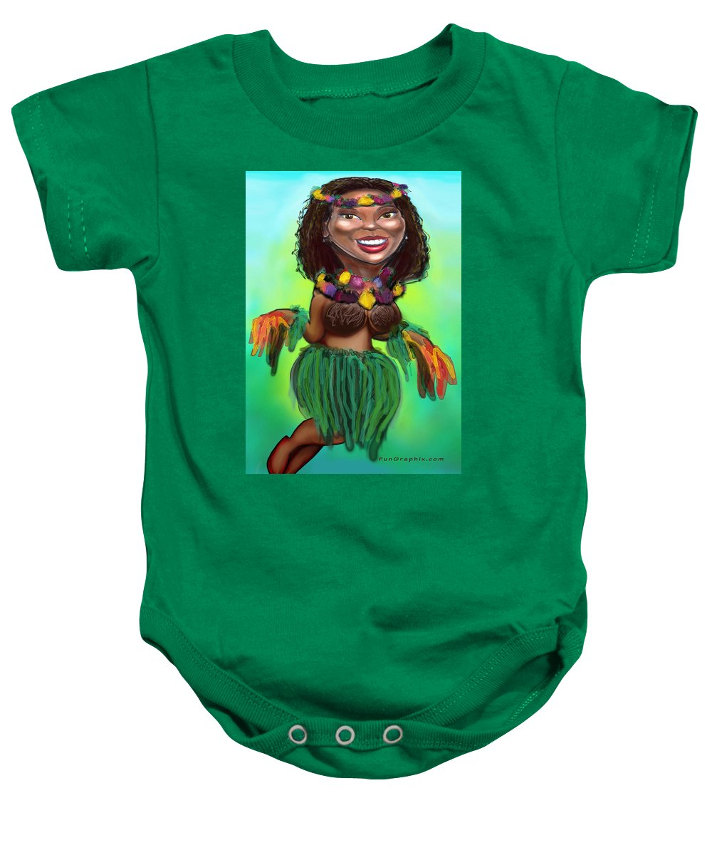 Luau Baby Onesie featuring the digital art Hula Dancer by Kevin Middleton