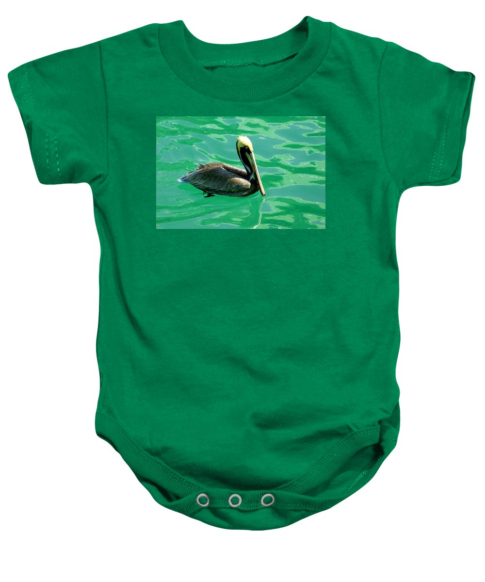 Pelican Baby Onesie featuring the photograph In The Green Zone by Susanne Van Hulst