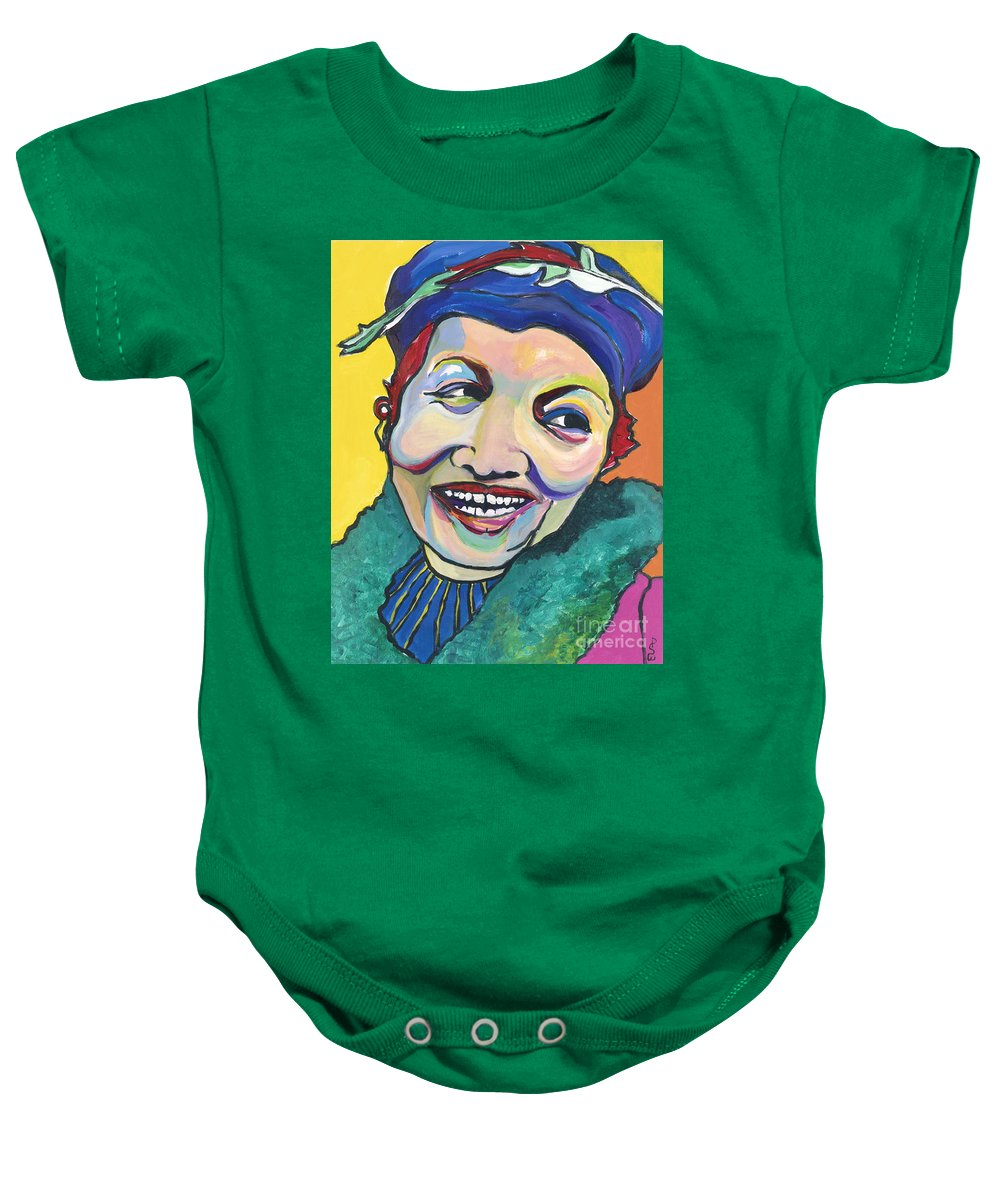 Hat Baby Onesie featuring the painting Koko Vivienne by Pat Saunders-White
