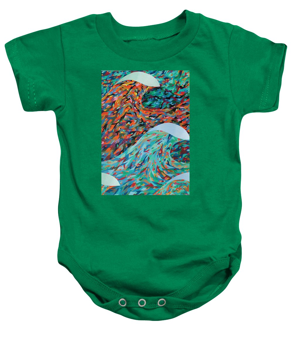 Oil Baby Onesie featuring the painting La Mer by Peter Antos