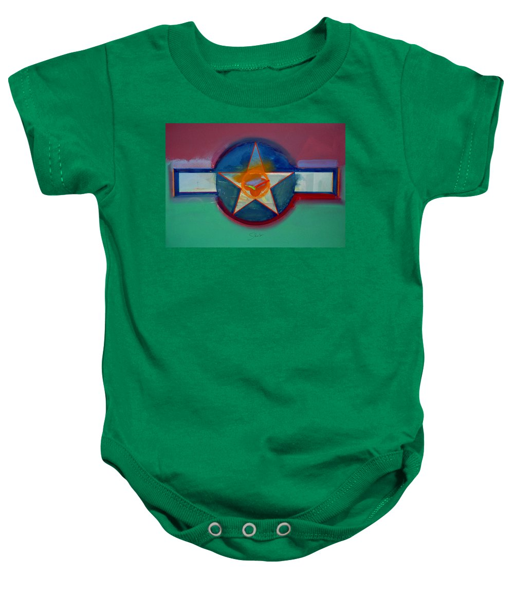 Star Baby Onesie featuring the painting Landscape In The Balance by Charles Stuart