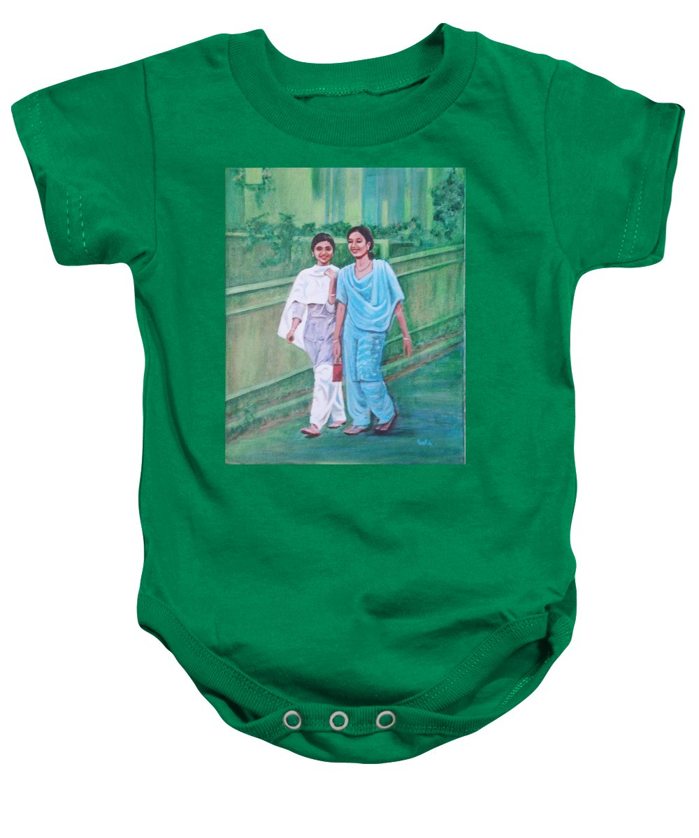 Baby Onesie featuring the painting Laughing Girls by Usha Shantharam