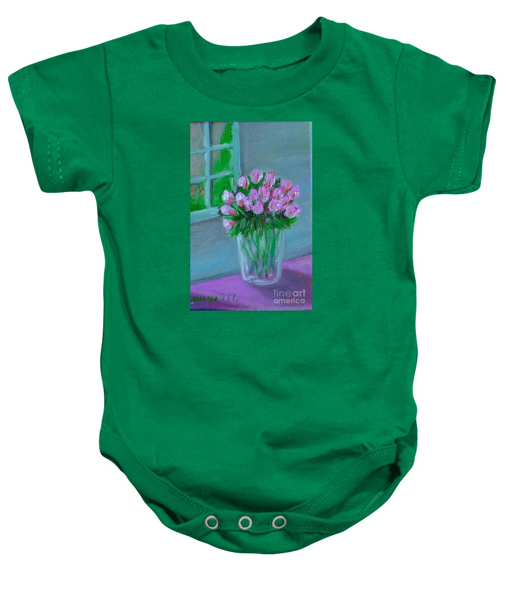 Rose Baby Onesie featuring the painting Leslie's Roses by Laurie Morgan