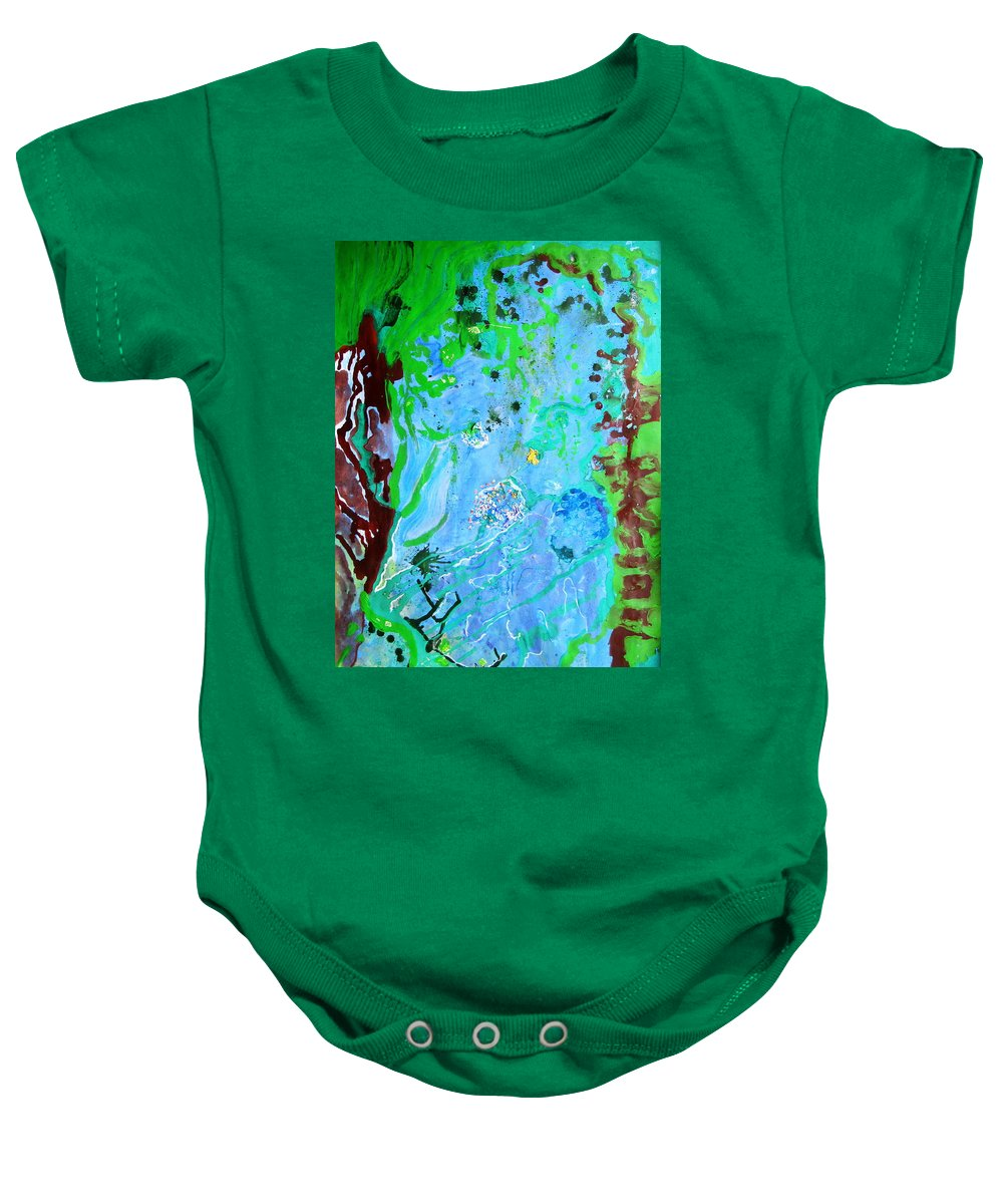 Little World Baby Onesie featuring the painting Little World by Petra Olsakova