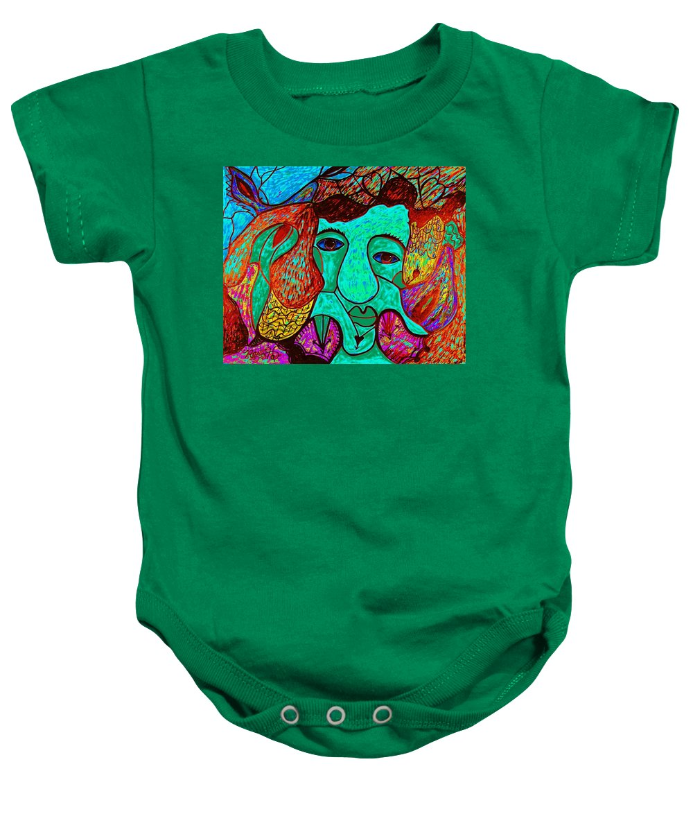 Man Baby Onesie featuring the painting Looking For Love by Natalie Holland