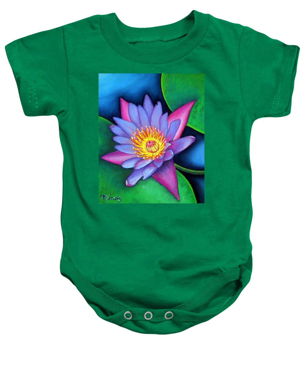 Flower Baby Onesie featuring the painting Lotus Divine by Minaz Jantz