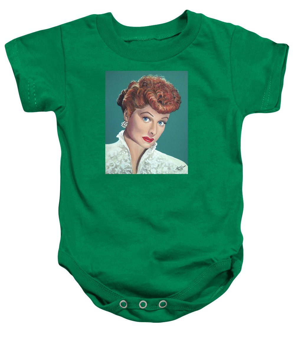 I Love Lucy Baby Onesie featuring the painting Lucille Ball by Tom Carlton