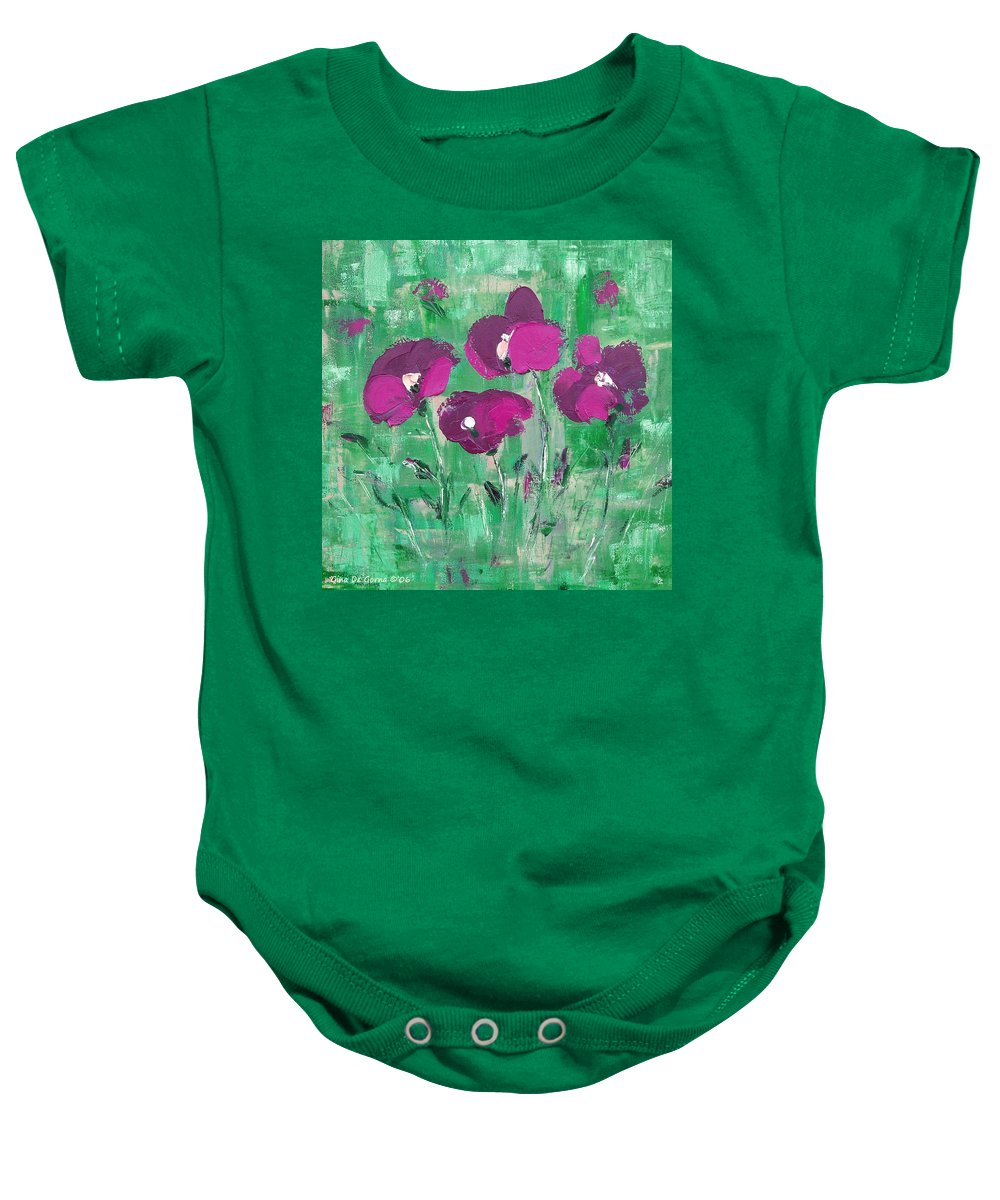 Magenta Baby Onesie featuring the painting Magenta Poppies by Gina De Gorna