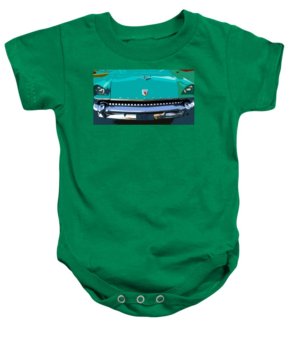 Mercury Baby Onesie featuring the painting Mercury In Green by David Lee Thompson