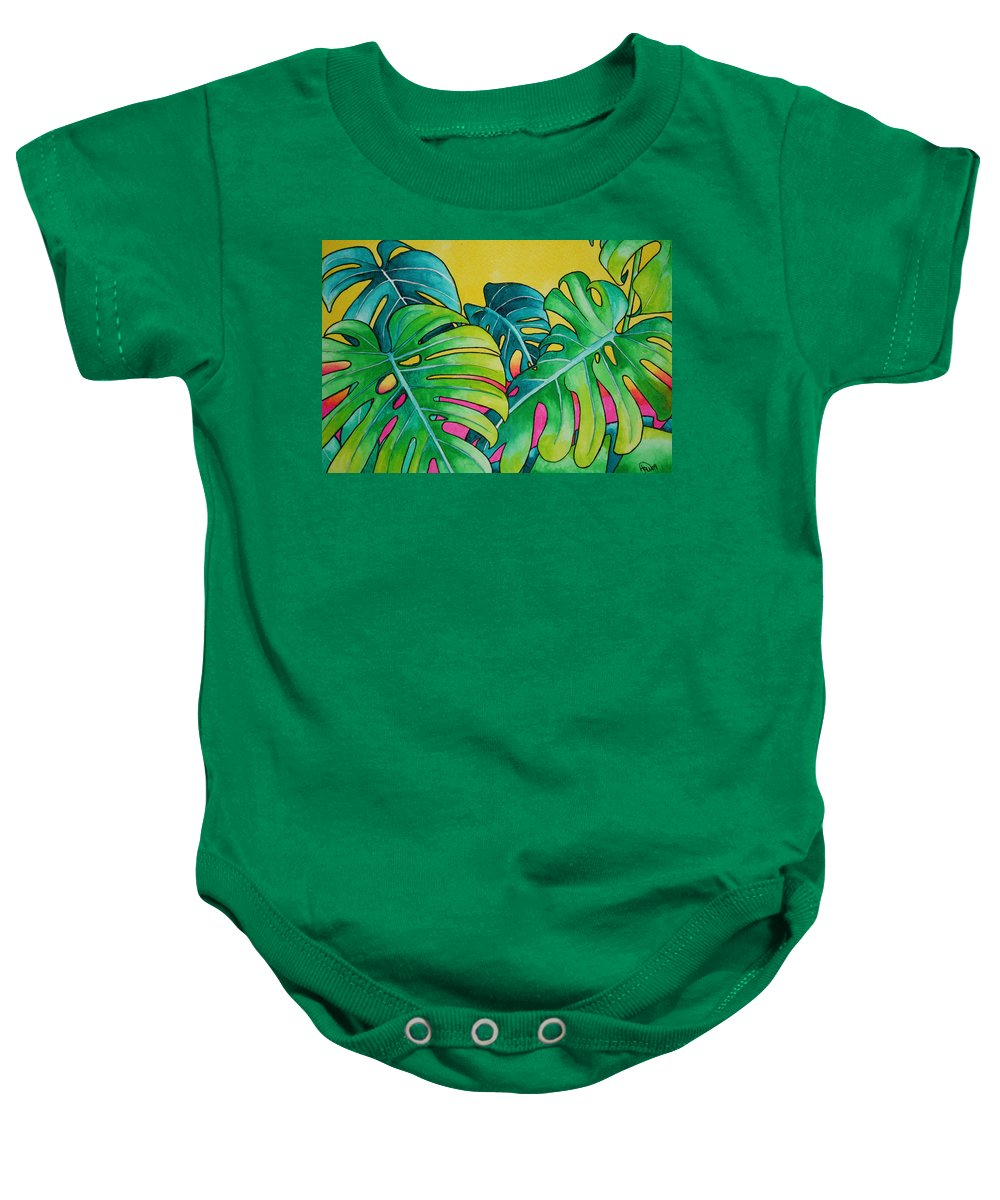 Tropical Plants. Foliage Baby Onesie featuring the painting Mini Tropicals 3 by Helen Weston