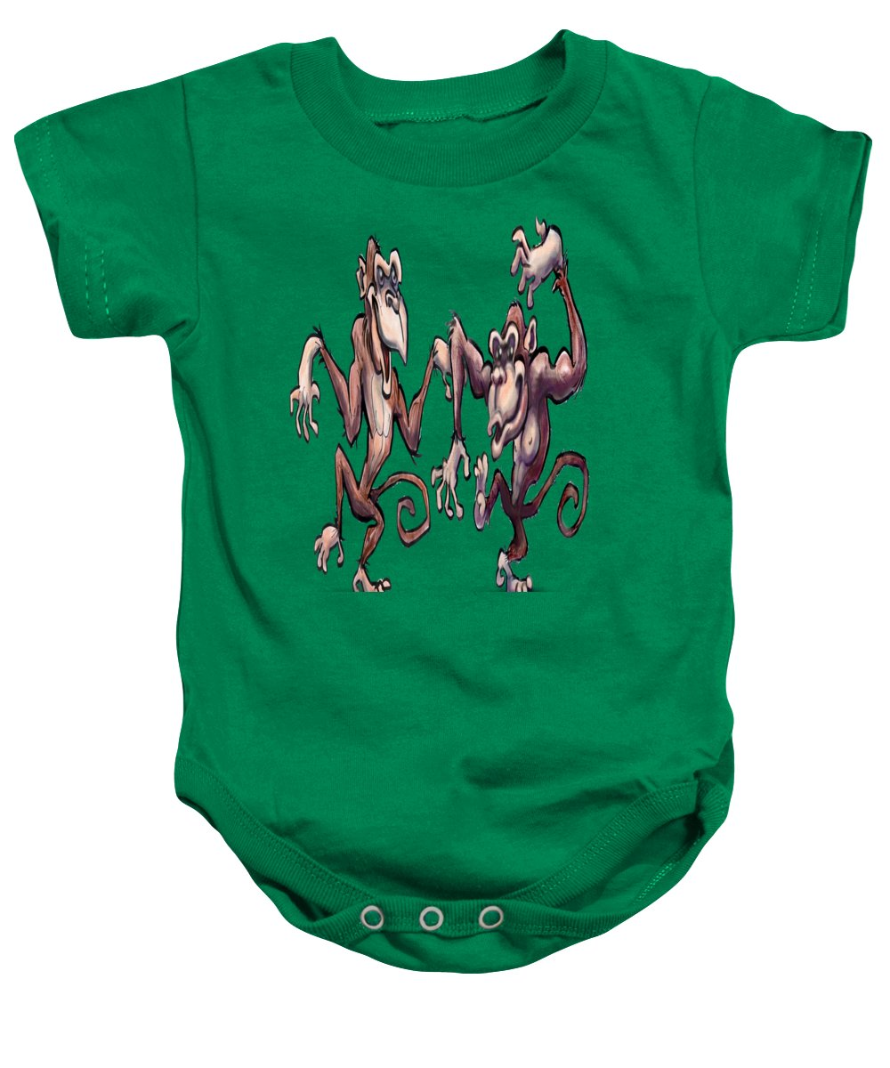 Monkey Baby Onesie featuring the painting Monkey Dance by Kevin Middleton