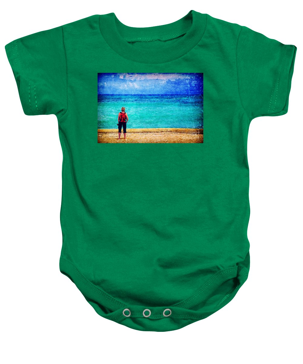 Sea Baby Onesie featuring the photograph My Thoughts Are Like Sea Waves by Silvia Ganora