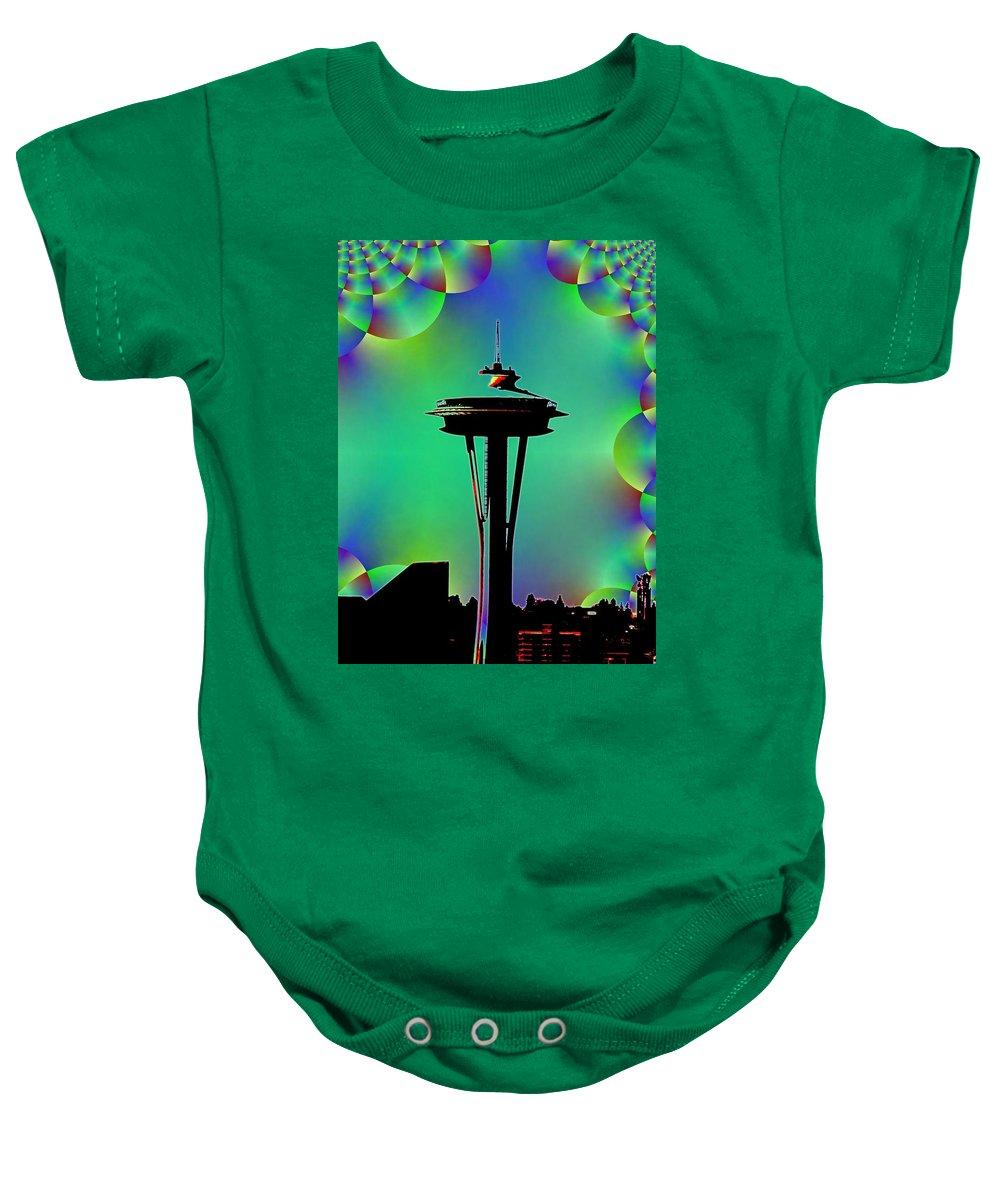 Seattle Baby Onesie featuring the digital art Needle In Fractal 3 by Tim Allen