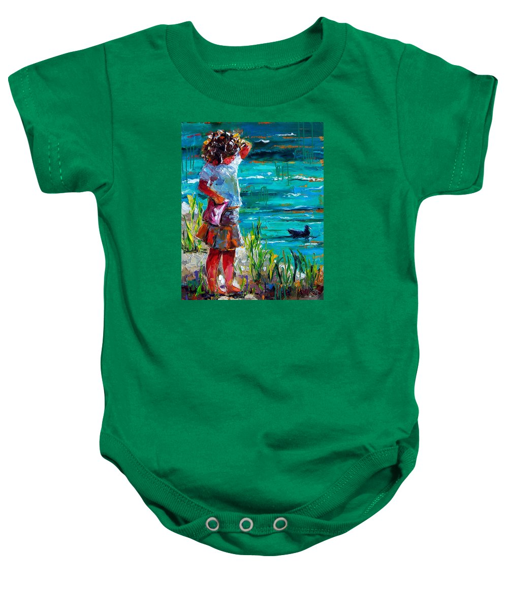 Children Baby Onesie featuring the painting One Lucky Duck by Debra Hurd