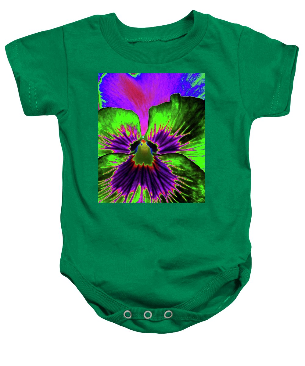 Pansy Baby Onesie featuring the photograph Pansy 06 - Photopower - Thoughts Of You by Pamela Critchlow