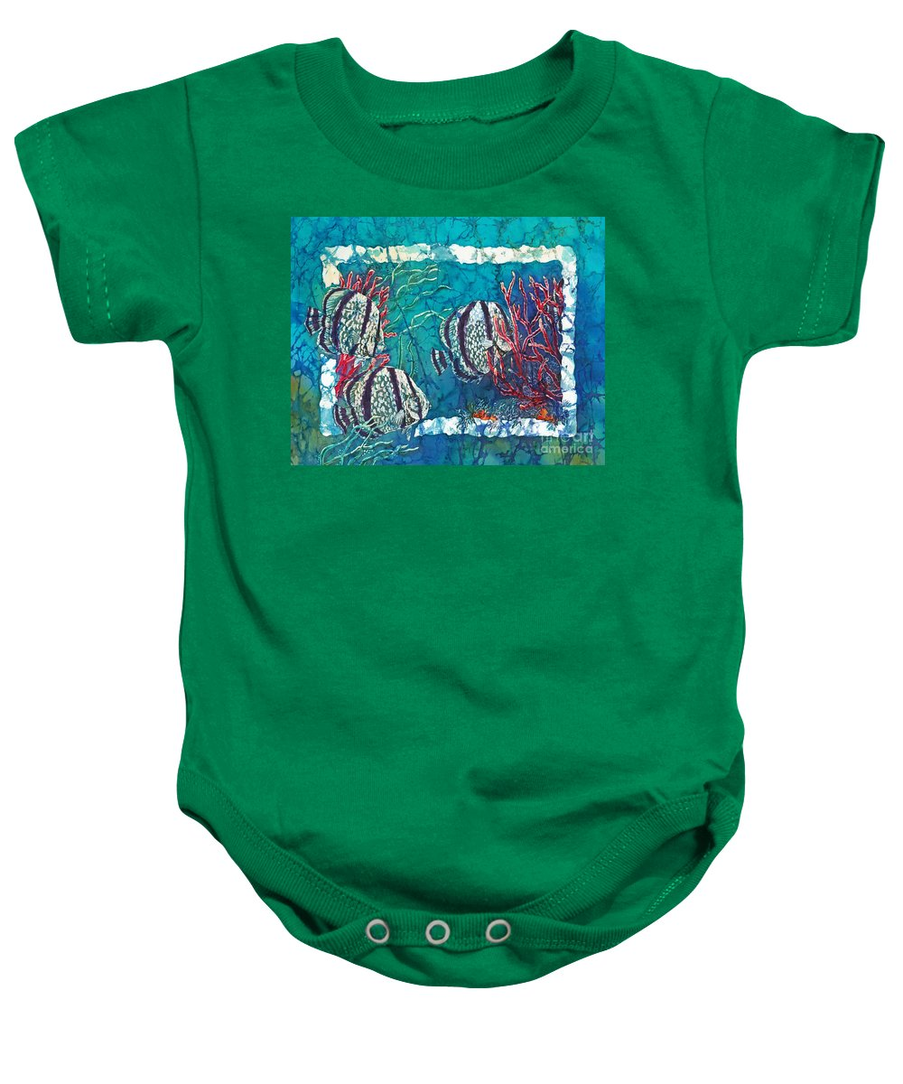 Fish Baby Onesie featuring the painting Playful Trio by Sue Duda