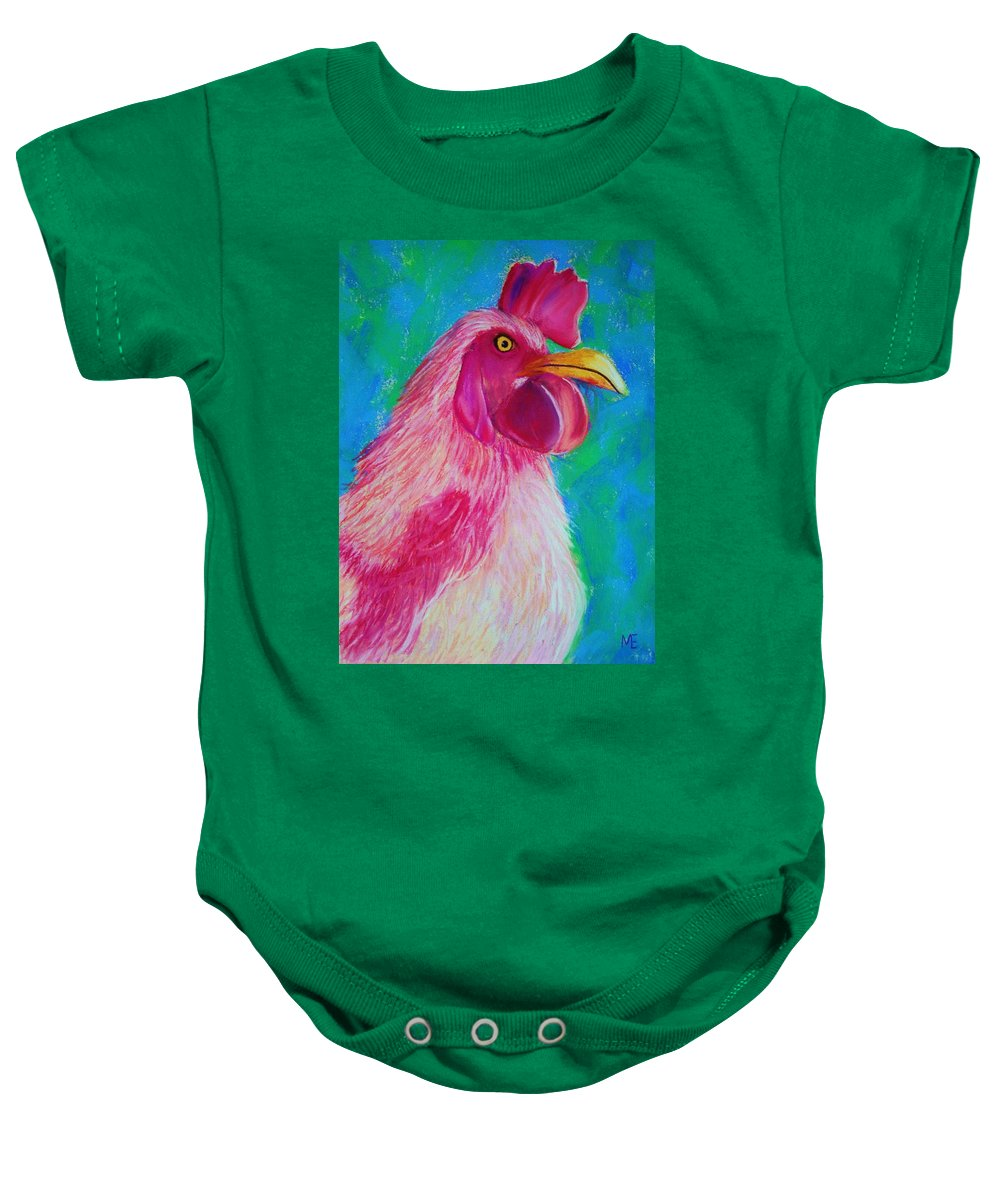 Rooster Baby Onesie featuring the painting Powerful In Pink by Melinda Etzold