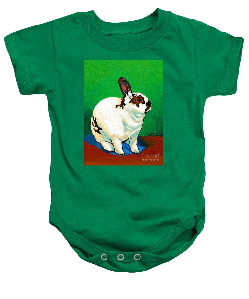 Rabbit Baby Onesie featuring the painting Queenie by Genevieve Esson