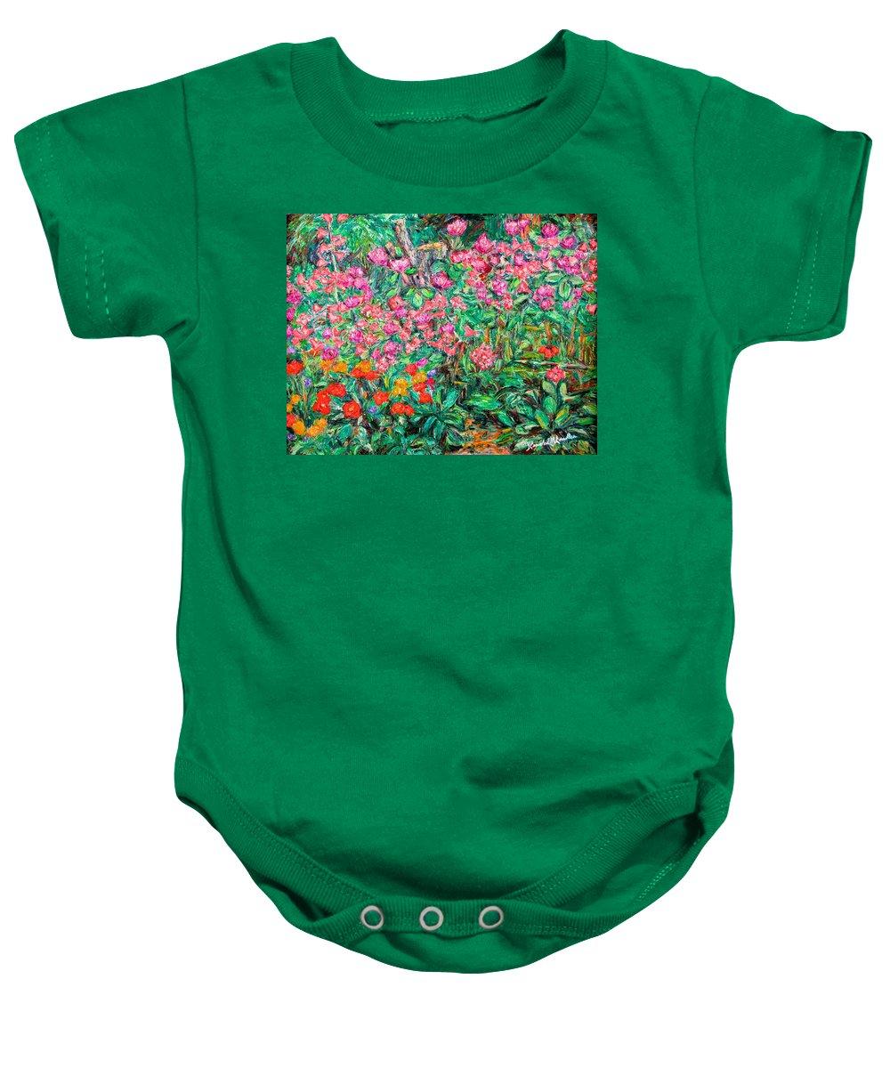 Kendall Kessler Baby Onesie featuring the painting Radford Flower Garden by Kendall Kessler