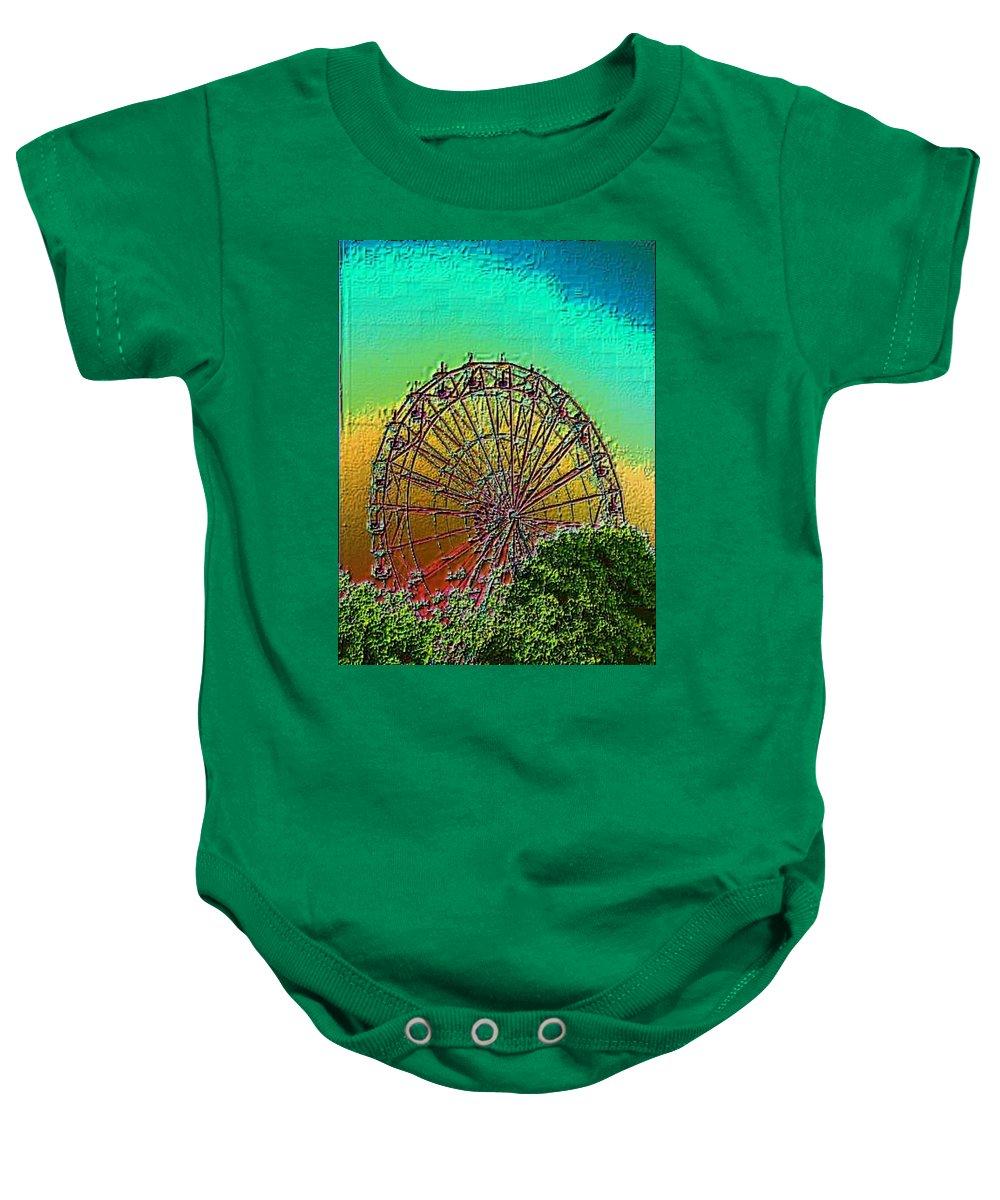 Rainbow Baby Onesie featuring the photograph Rainbow Ferris Wheel by Tim Allen