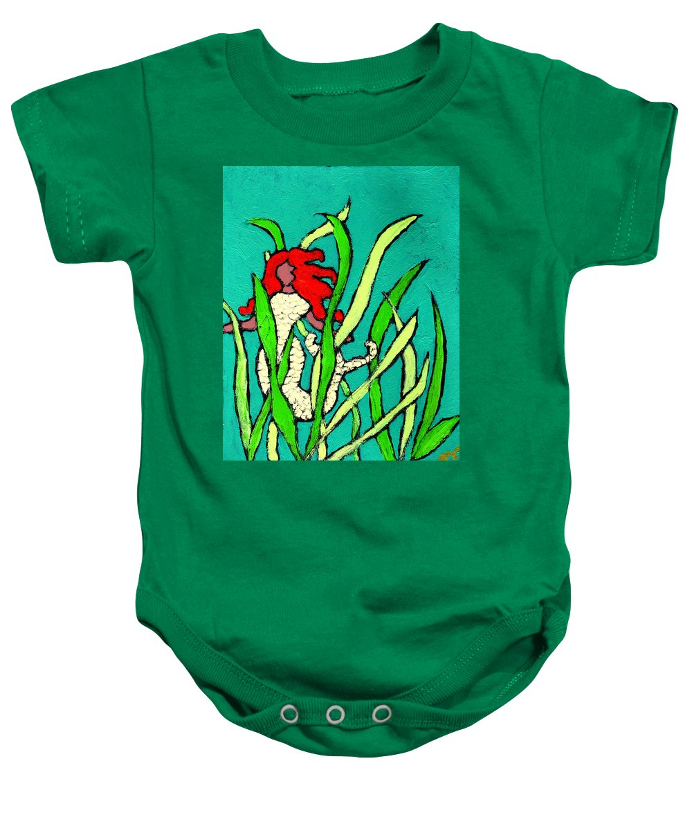Mermaid Baby Onesie featuring the painting Red Head Mermaid by Wayne Potrafka