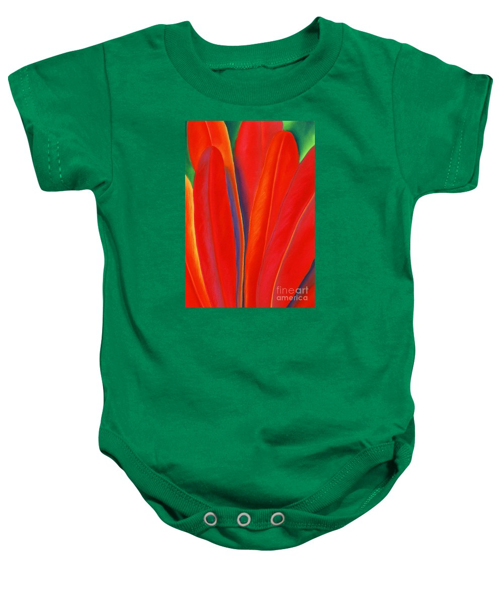 Red Baby Onesie featuring the painting Red Petals by Lucy Arnold