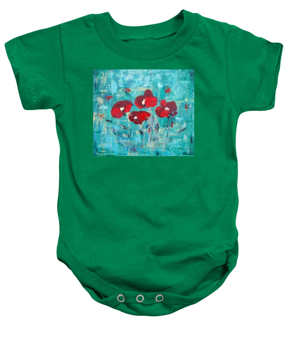 Red Baby Onesie featuring the painting Red Poppies by Gina De Gorna