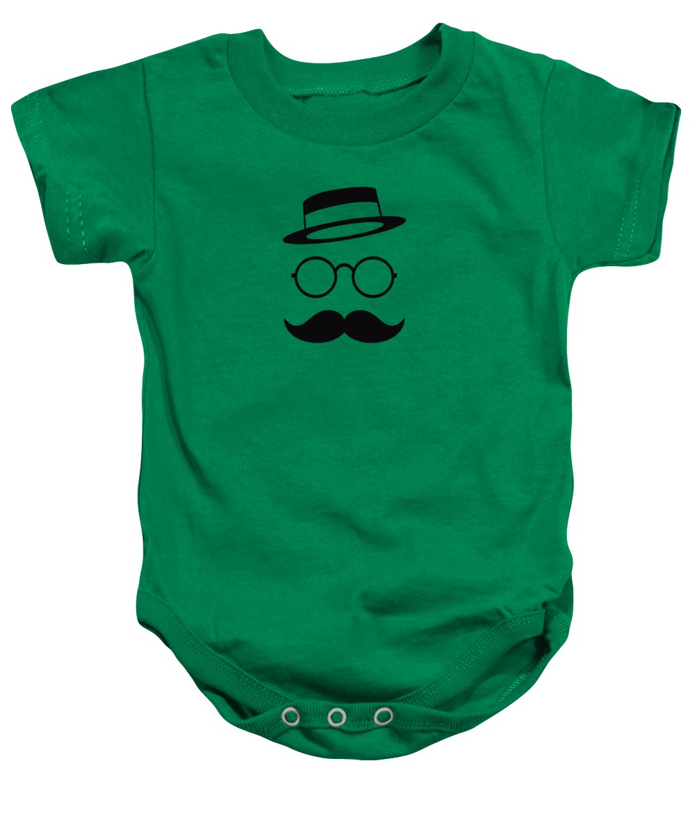 Les Claypool Baby Onesie featuring the digital art Retro Minimal vintage face with Moustache and Glasses by Philipp Rietz