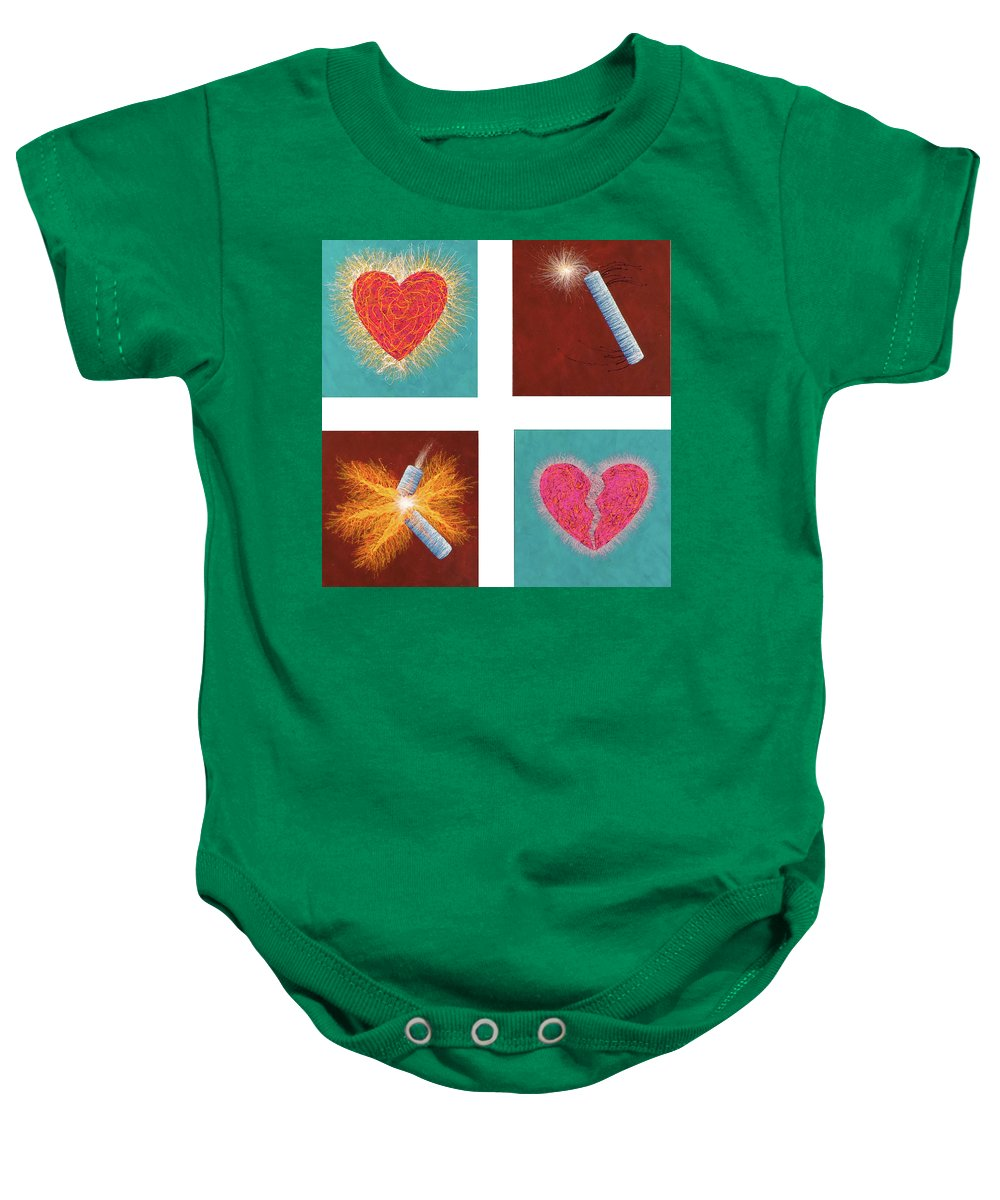 Firecracker Baby Onesie featuring the painting Riddle Number One by Stephen Mauldin