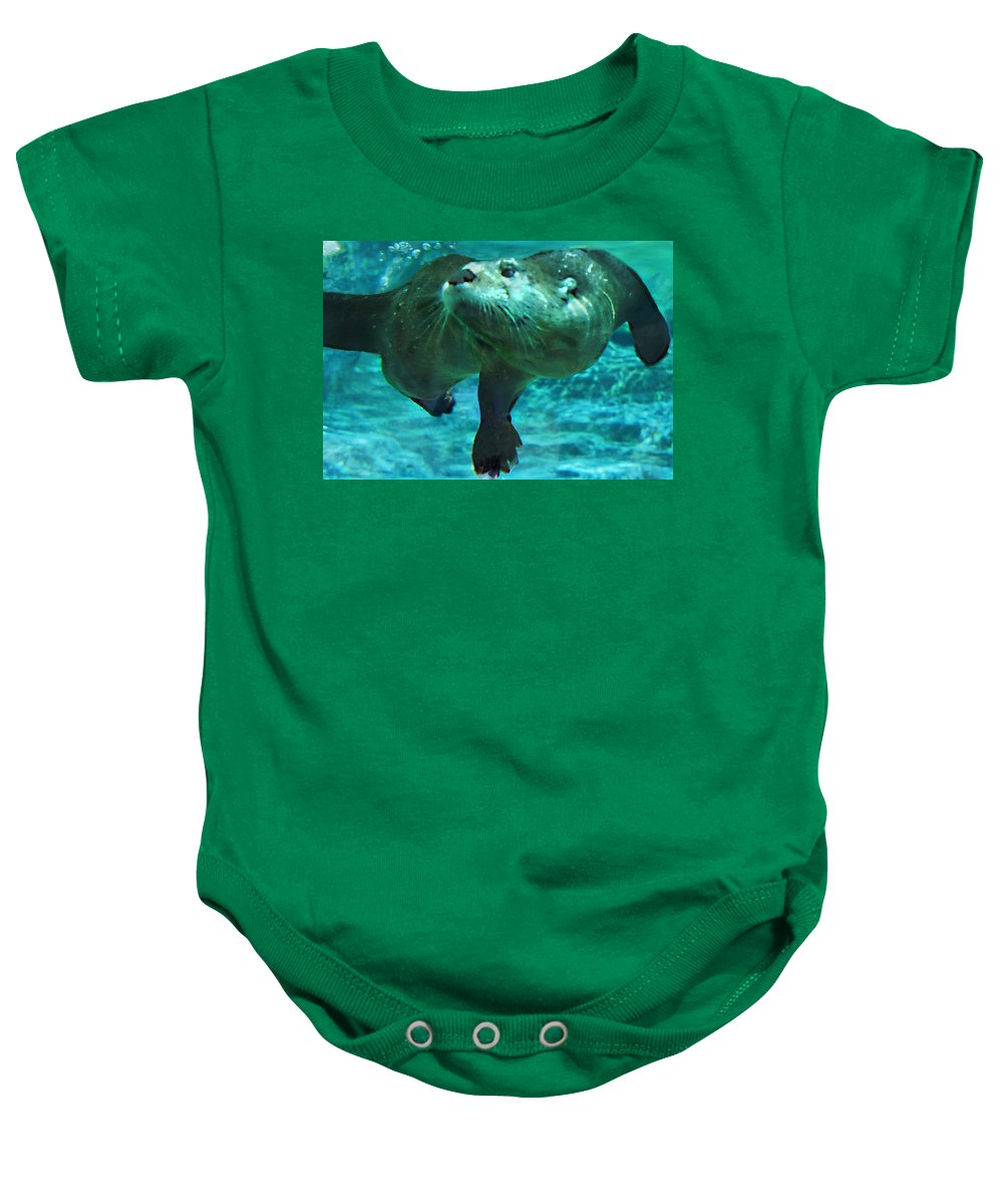 Animal Baby Onesie featuring the photograph River Otter by Steve Karol