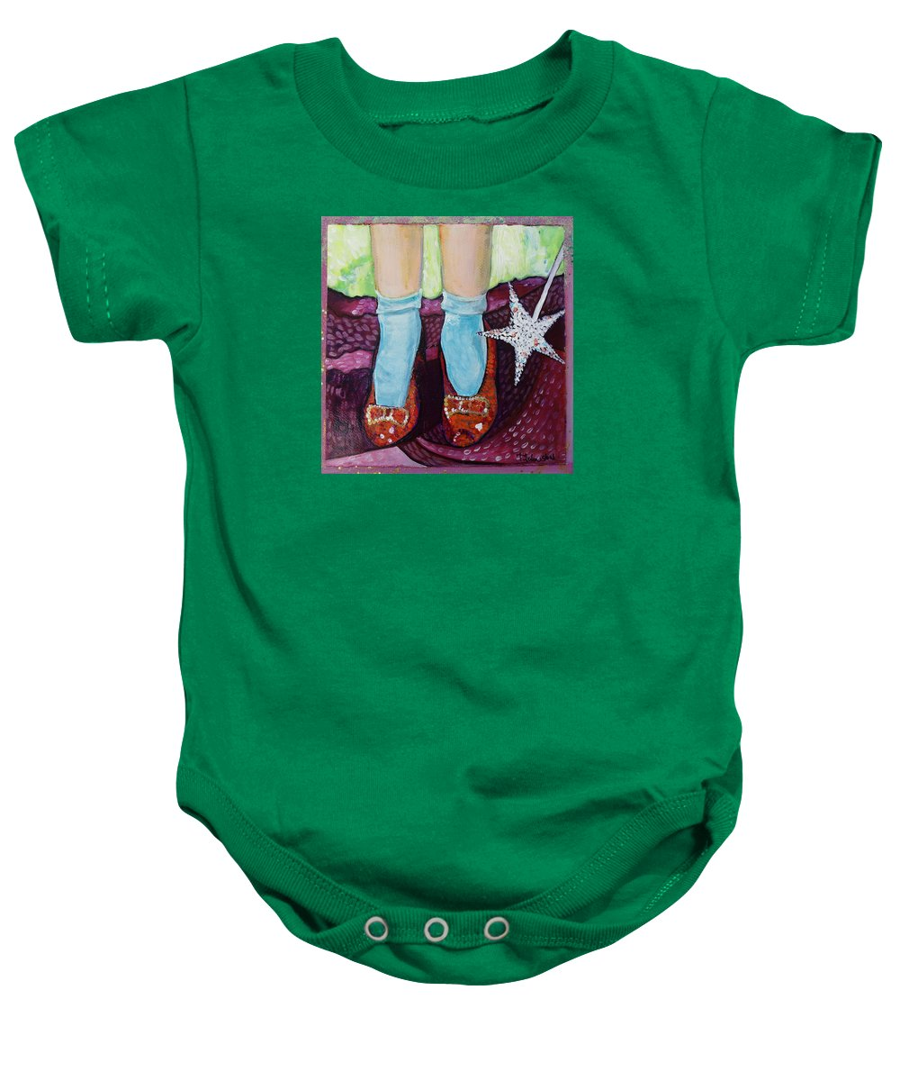 Ruby Slippers Baby Onesie featuring the painting Ruby Slippers by Tanya Johnston