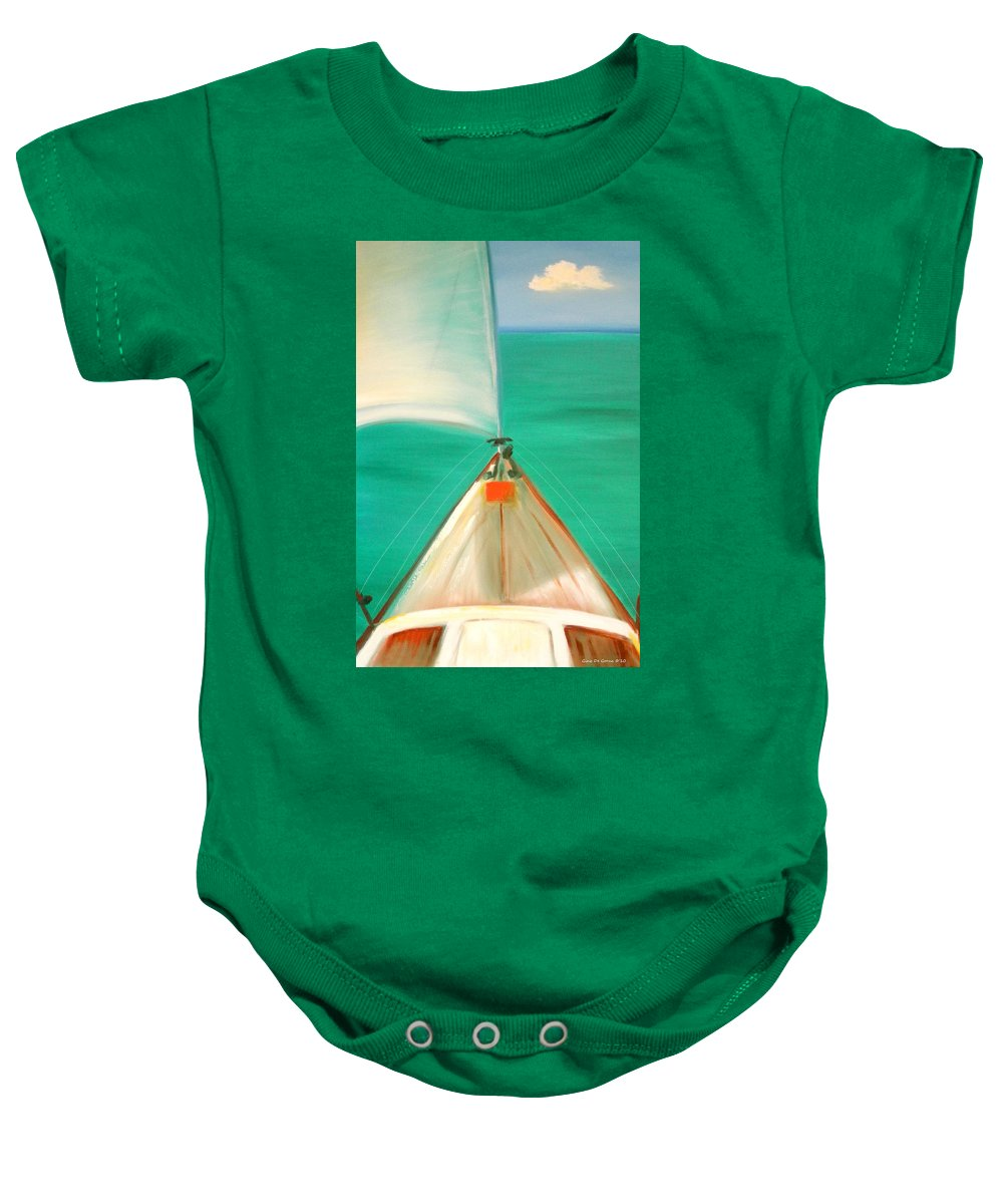 Sea Baby Onesie featuring the painting Sailing by Gina De Gorna