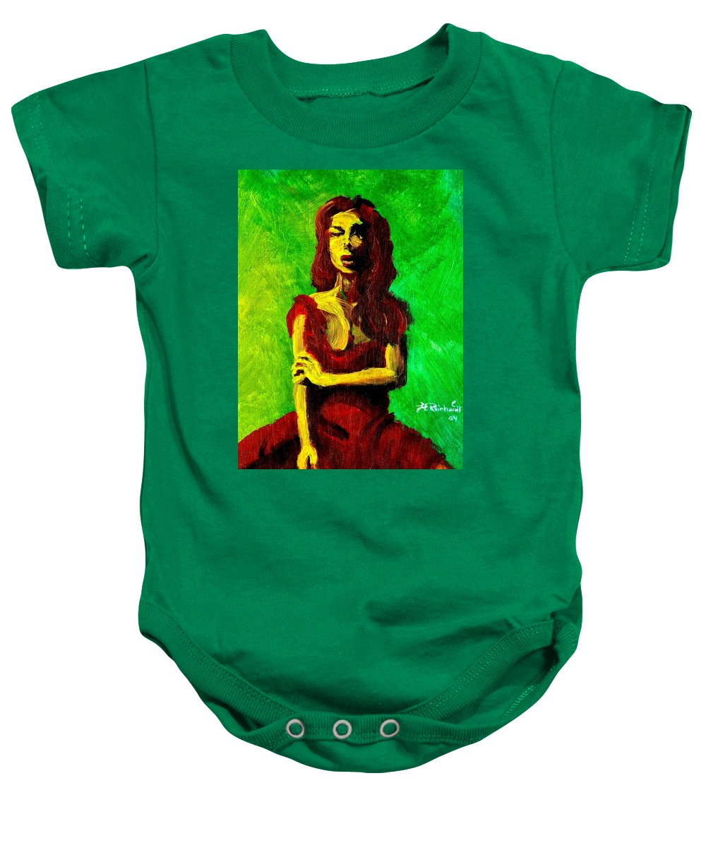 Expressionist Baby Onesie featuring the painting Scarlet by Jason Reinhardt