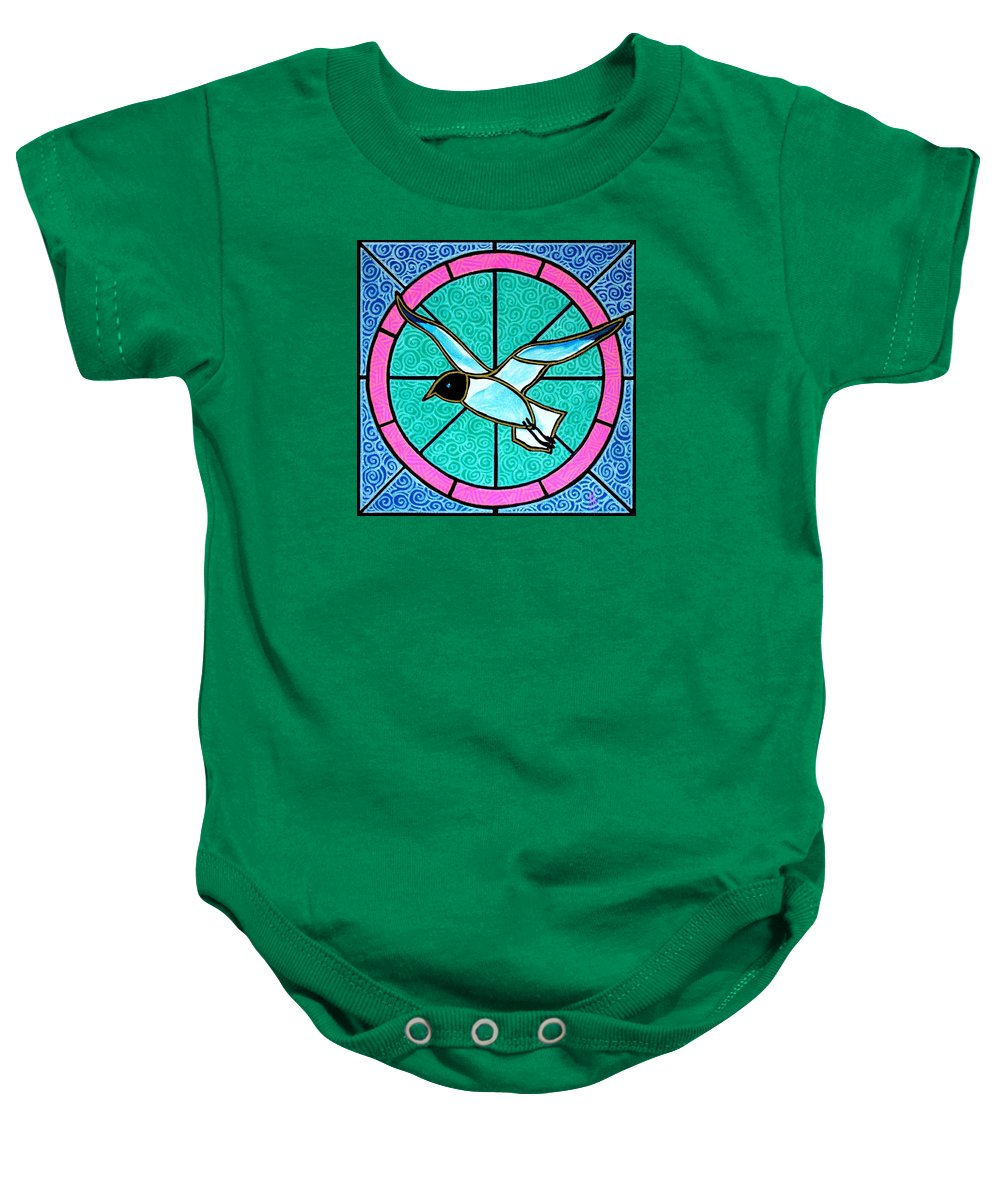Seagull Baby Onesie featuring the painting Seagull 4 by Jim Harris