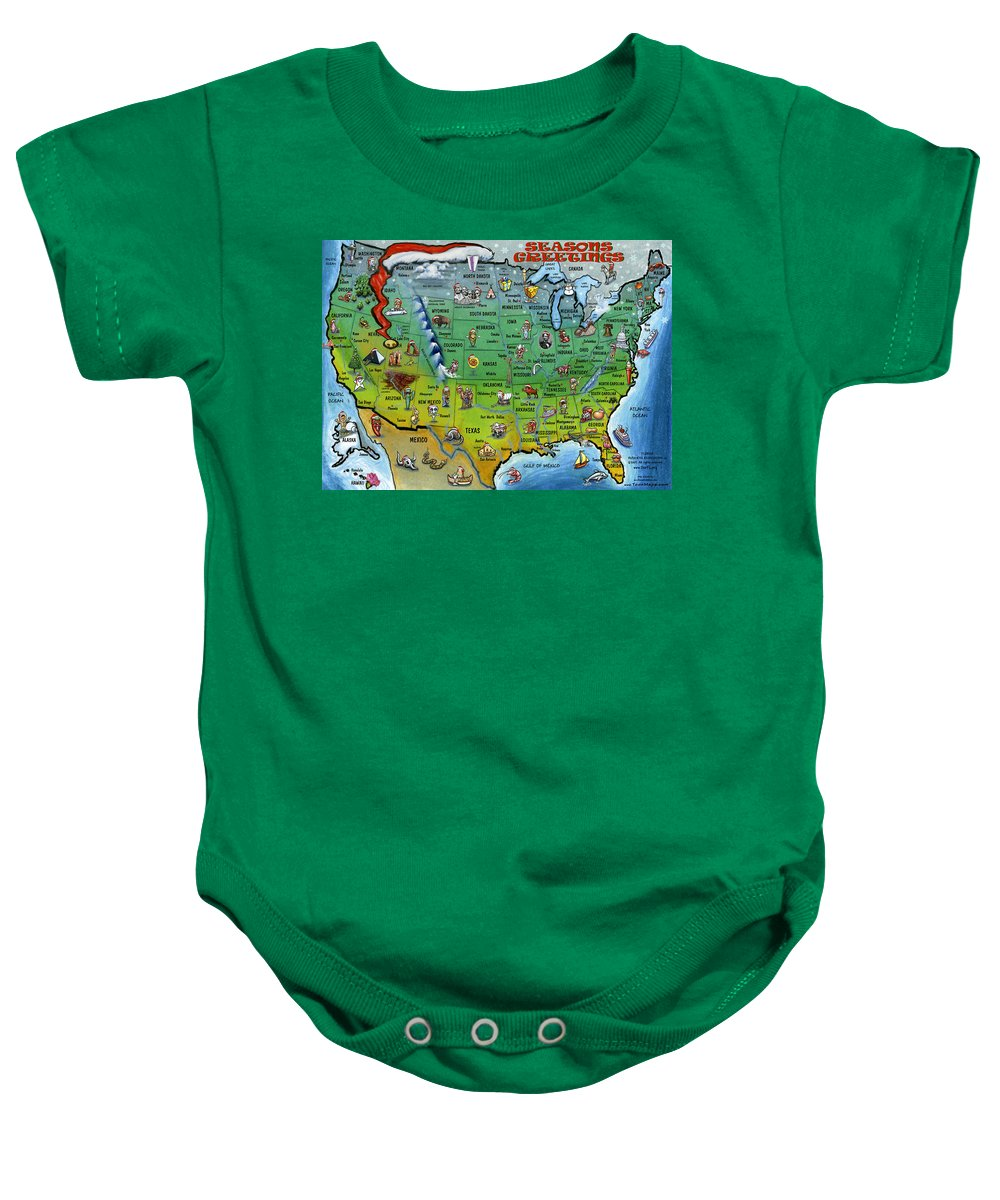 Usa Baby Onesie featuring the greeting card Seasons Greetings Usa by Kevin Middleton