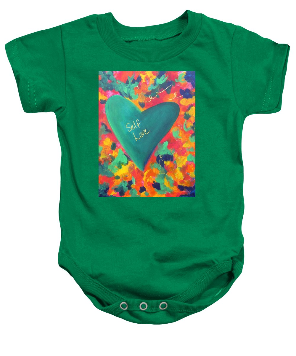 Inspirational Baby Onesie featuring the painting Self Love by Kelly Simpson