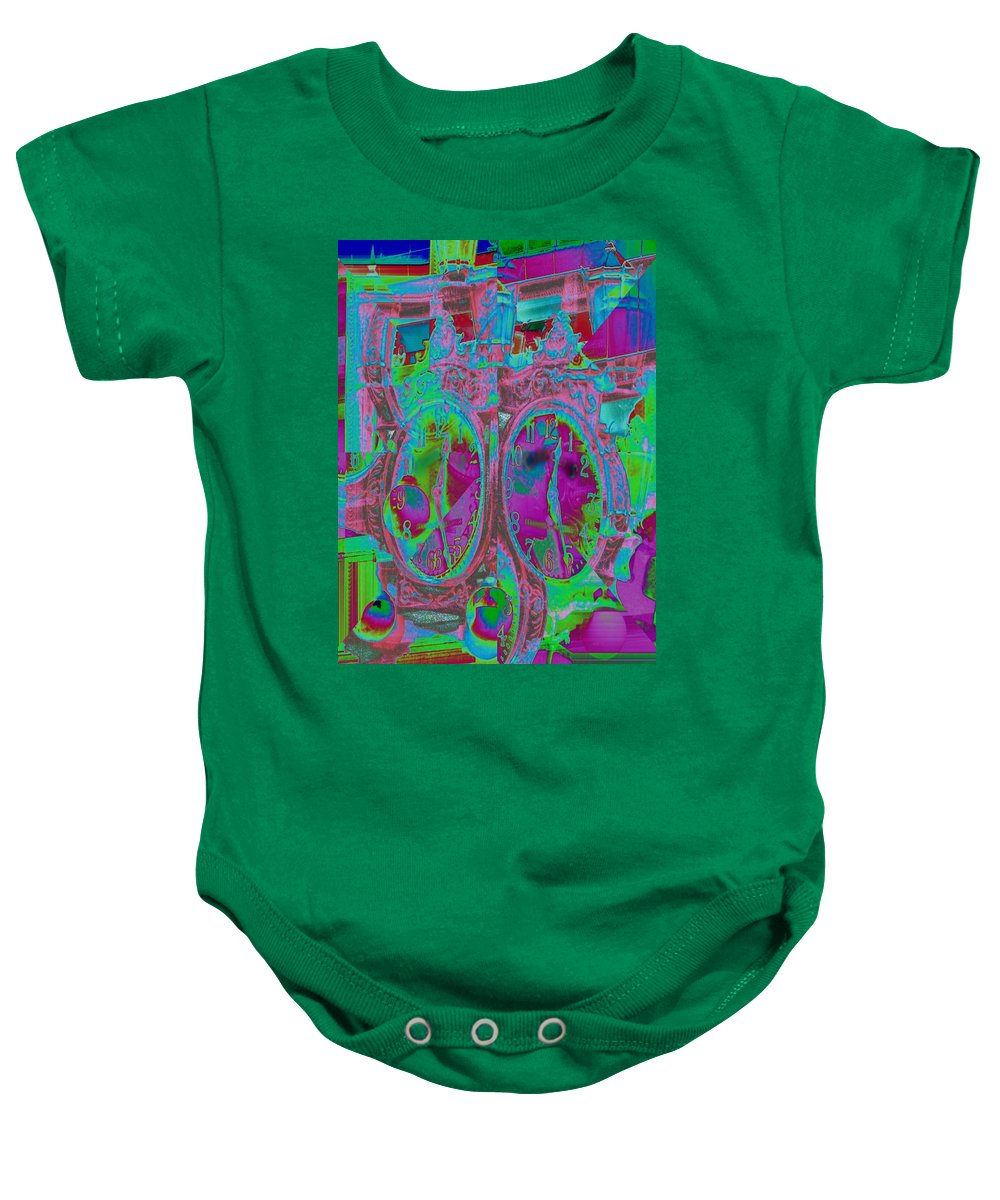 Clock Baby Onesie featuring the digital art Sidewalk Timepiece by Tim Allen