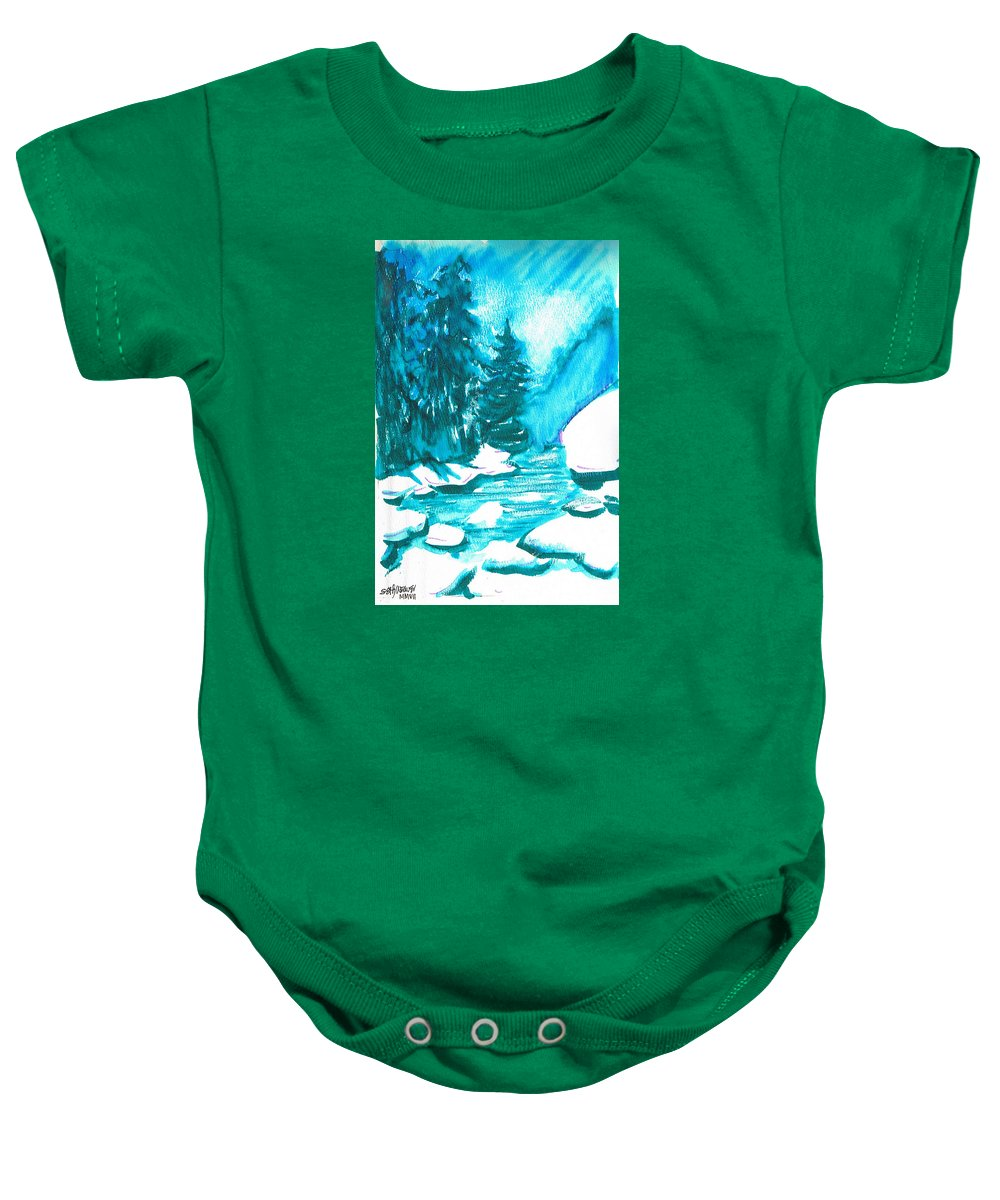 Chilling Baby Onesie featuring the mixed media Snowy Creek Banks by Seth Weaver