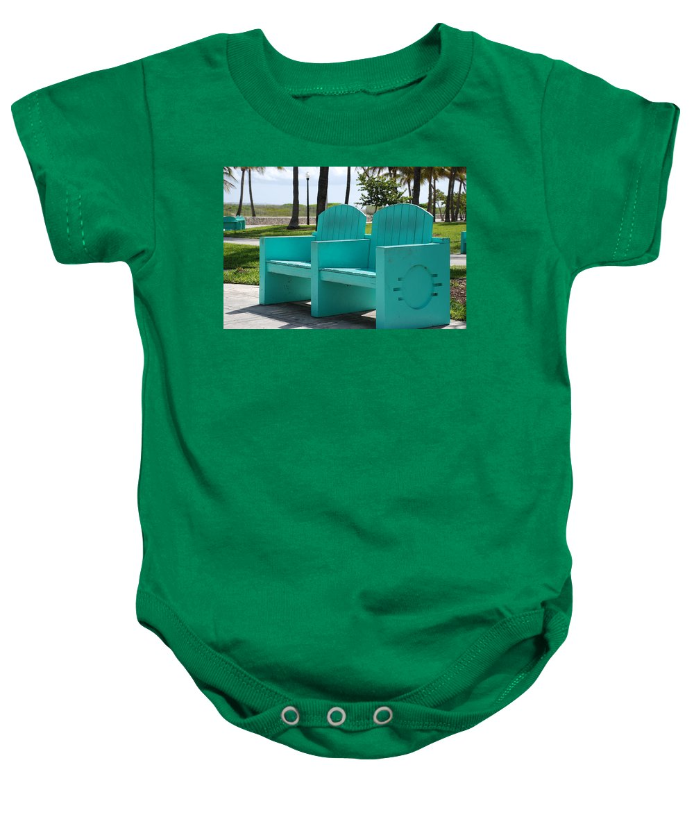 Art Deco Baby Onesie featuring the photograph South Beach Bench by Rob Hans