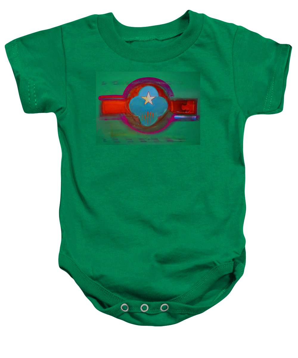 Star Baby Onesie featuring the painting Spiritual Green by Charles Stuart